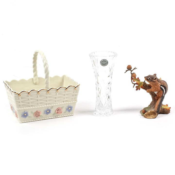 Lenox Porcelain Basket, Figurine and Crystal Vase