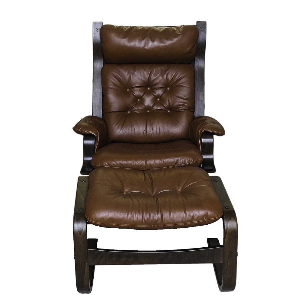 Danish Modern Style Leather and Birch Armchair with Ottoman by Sorensen