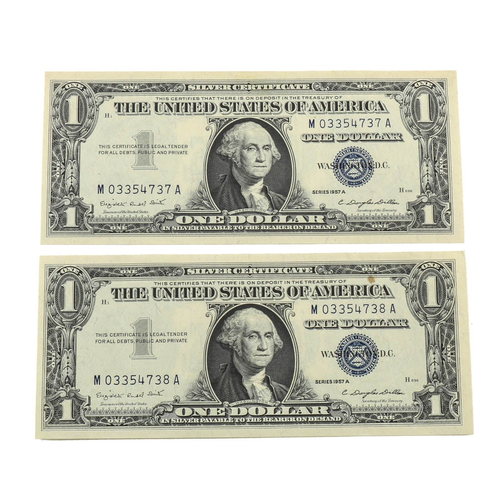 Two Series of 1957 A Silver Certificates