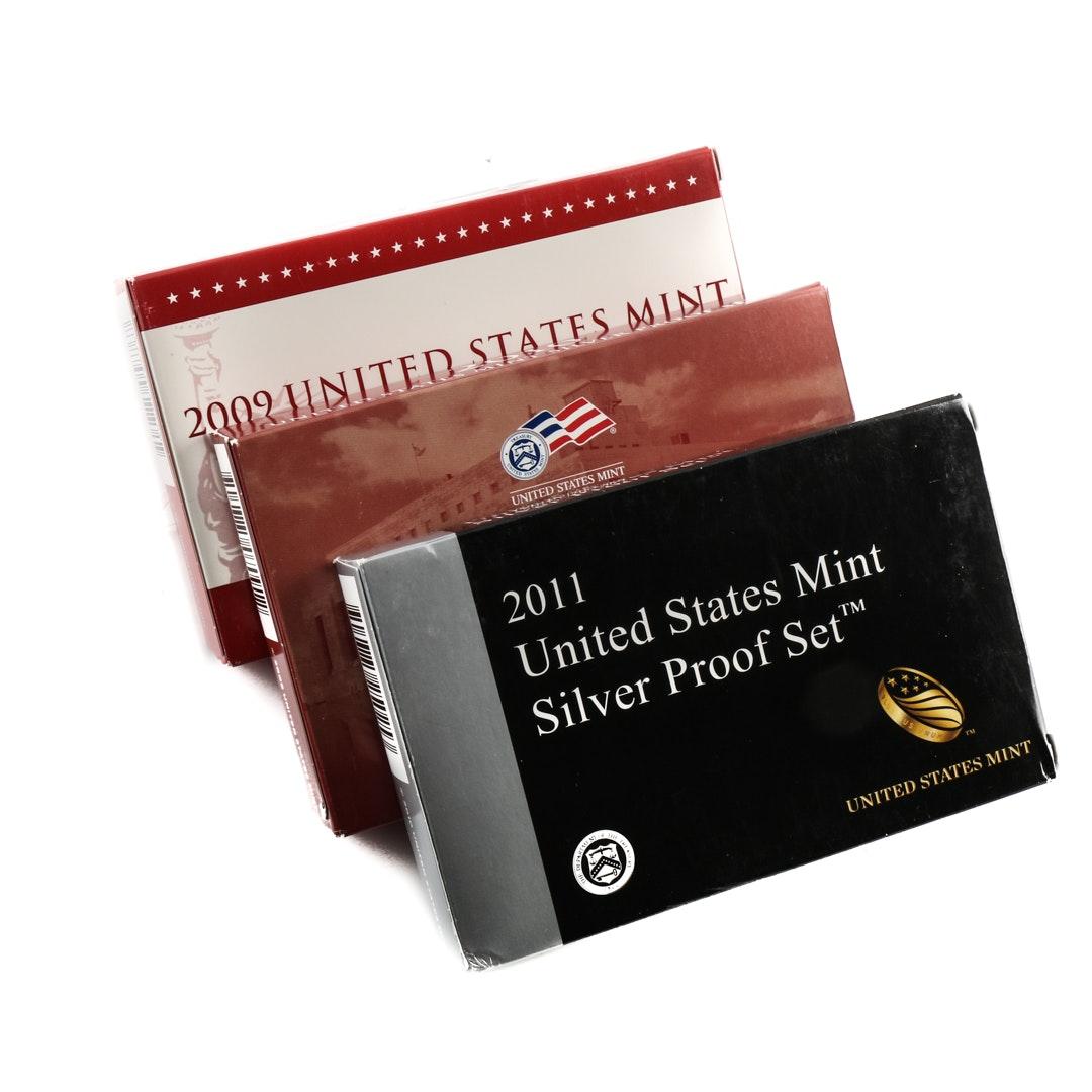 Three U.S. Mint Silver Proof Sets