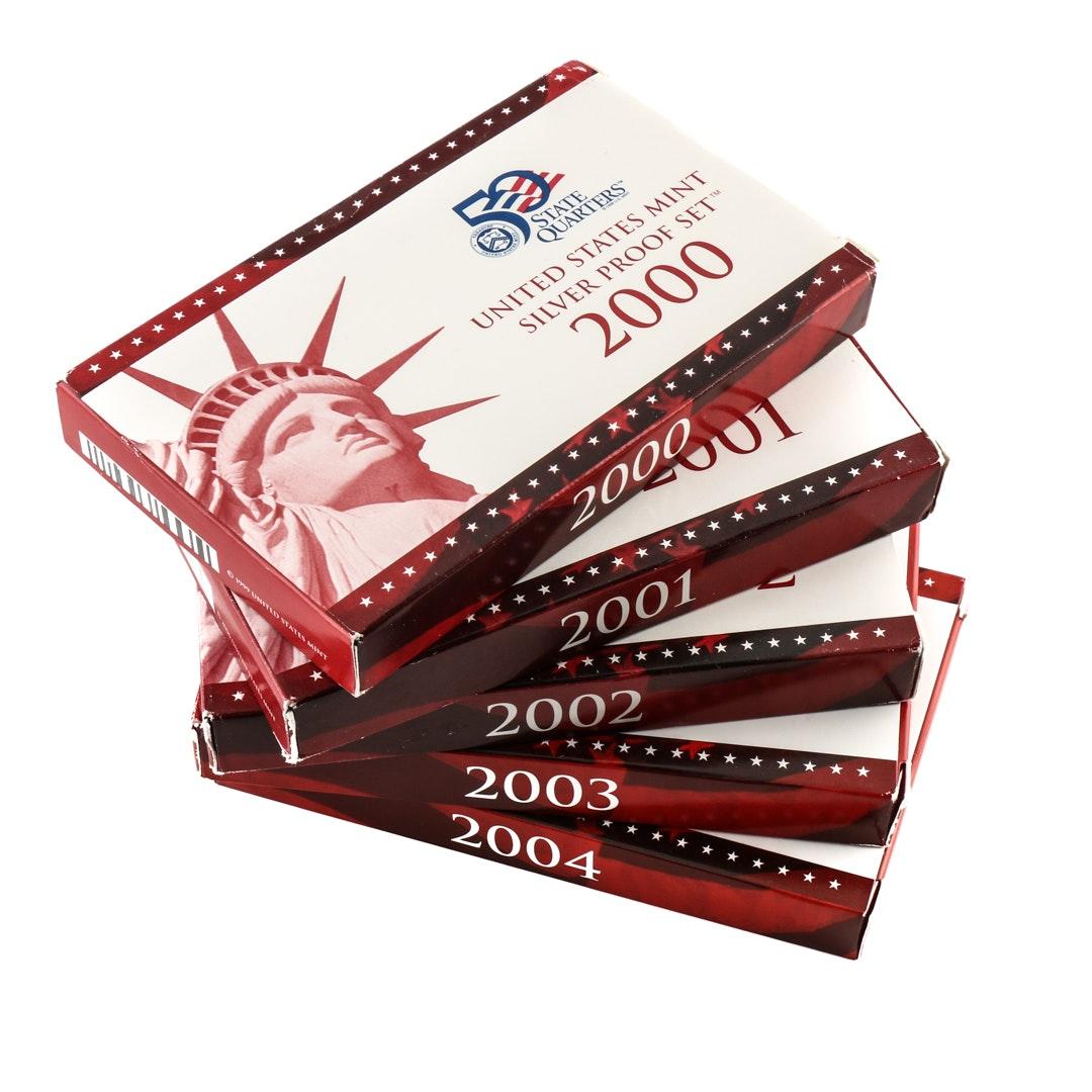 Five U.S. Mint Silver Proof Sets