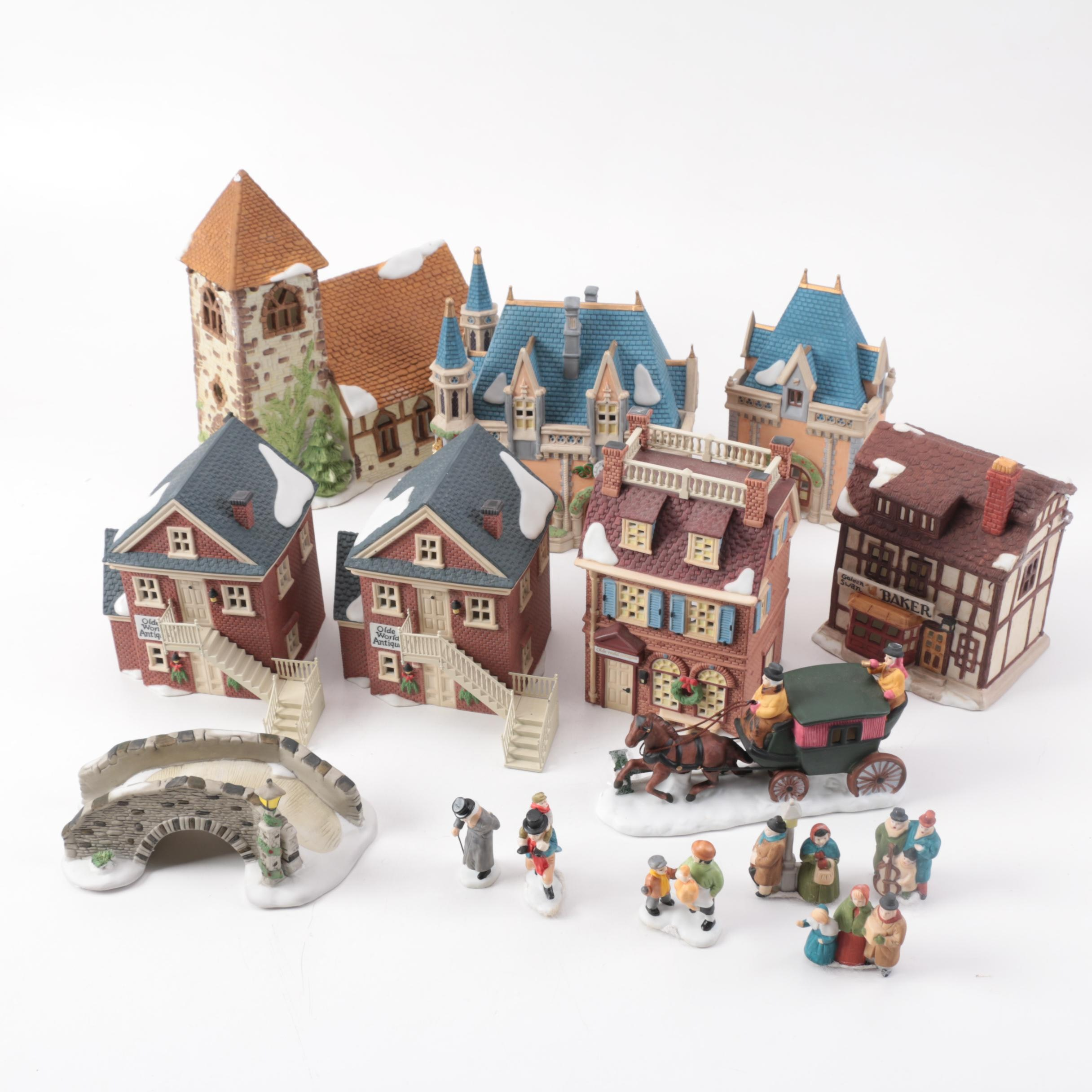 Large Group of Department 56 Village Buildings and Accessories
