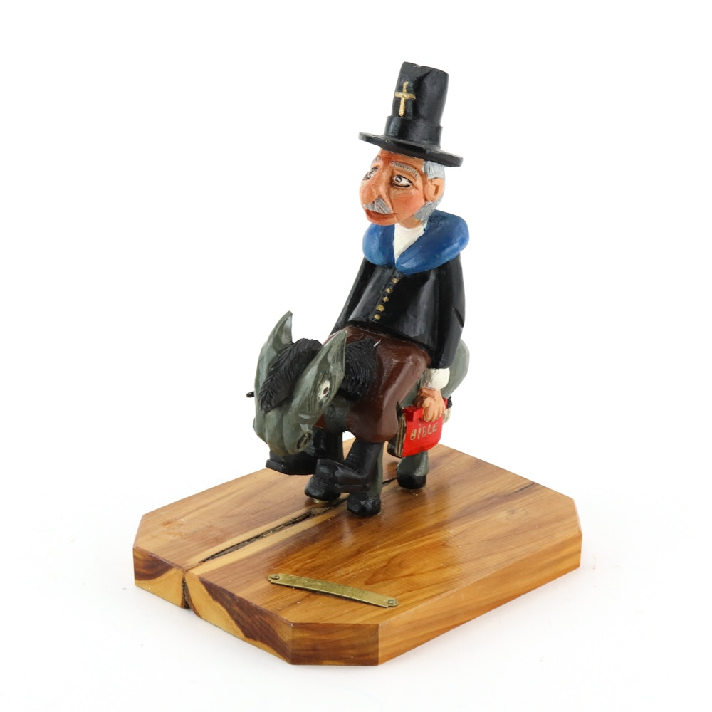 Harvey J. Borrie Carved Wood Sculpture Of a Preacher on a Mule