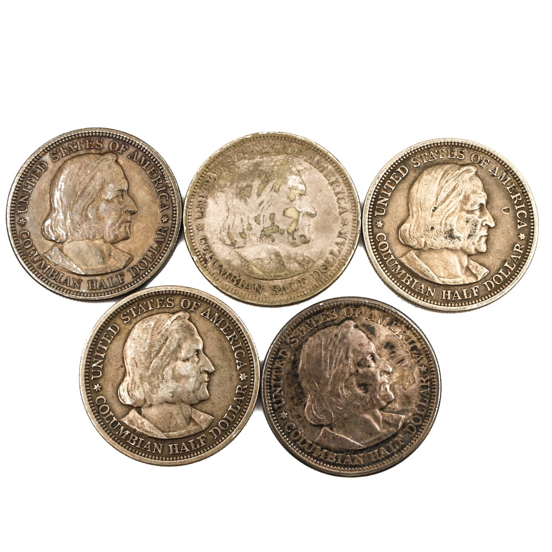 Five Columbian Exposition Commemorative Silver Half Dollars