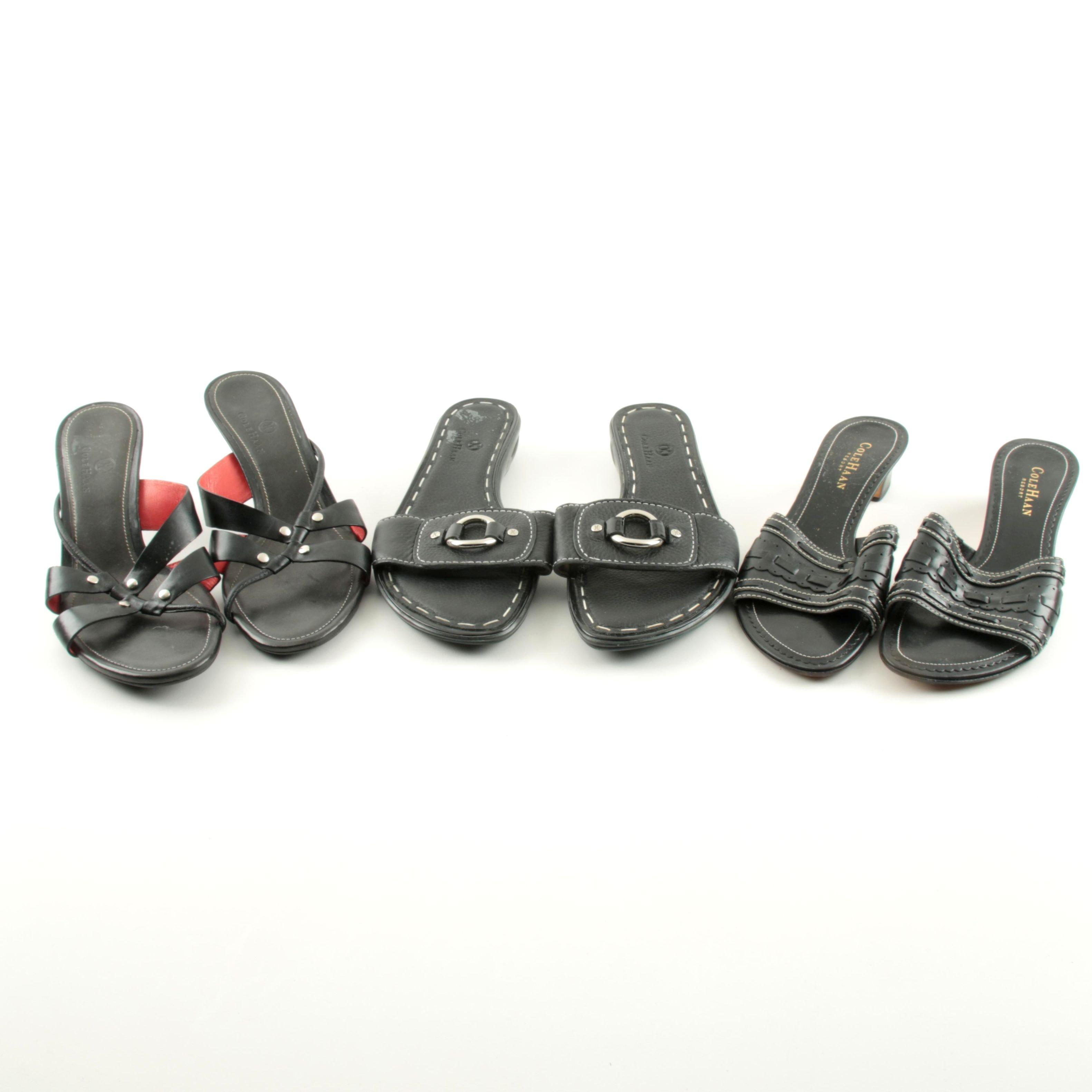 Women's Cole Haan Black Leather Slide Sandals