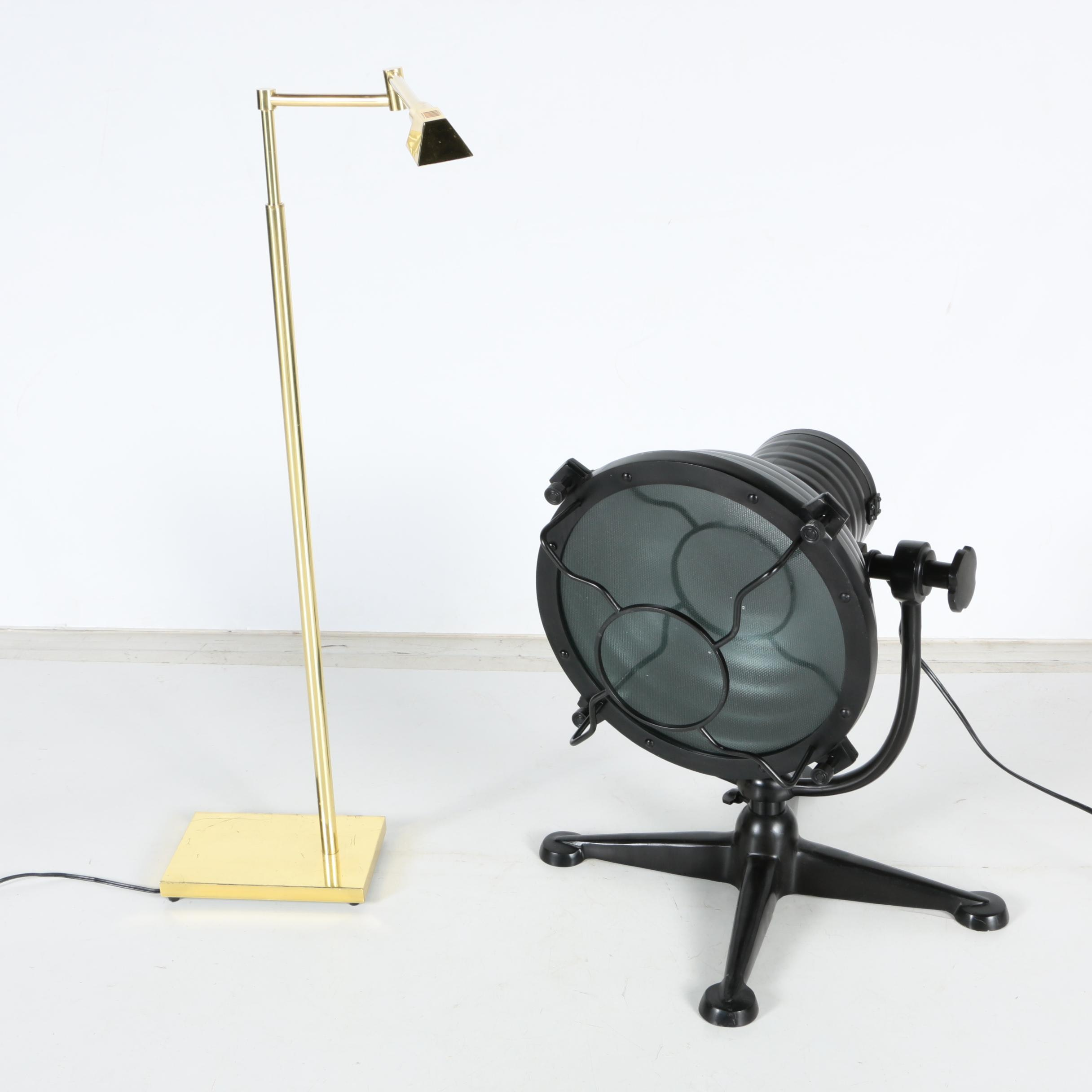 Adjustable Brass Table Lamp and Spotlight