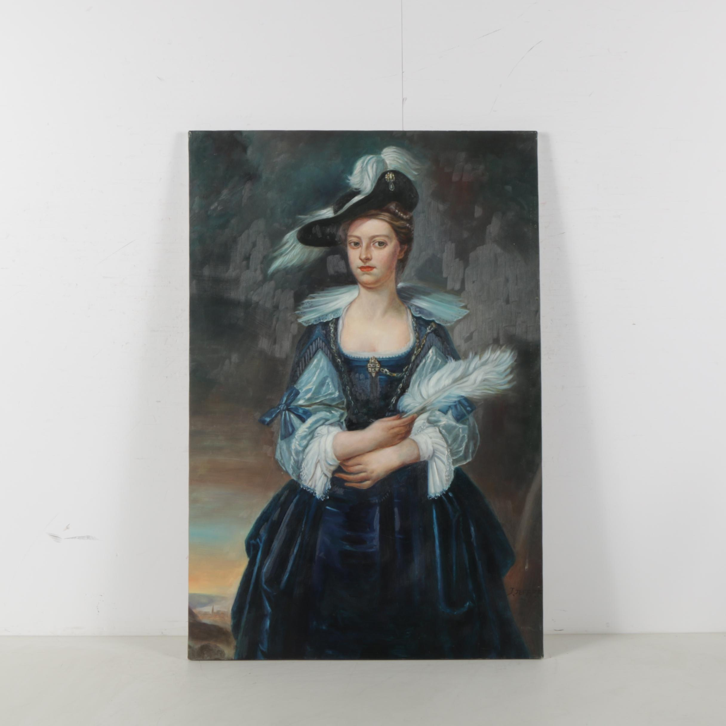 J. Jeffrey Formal Portrait Oil Painting