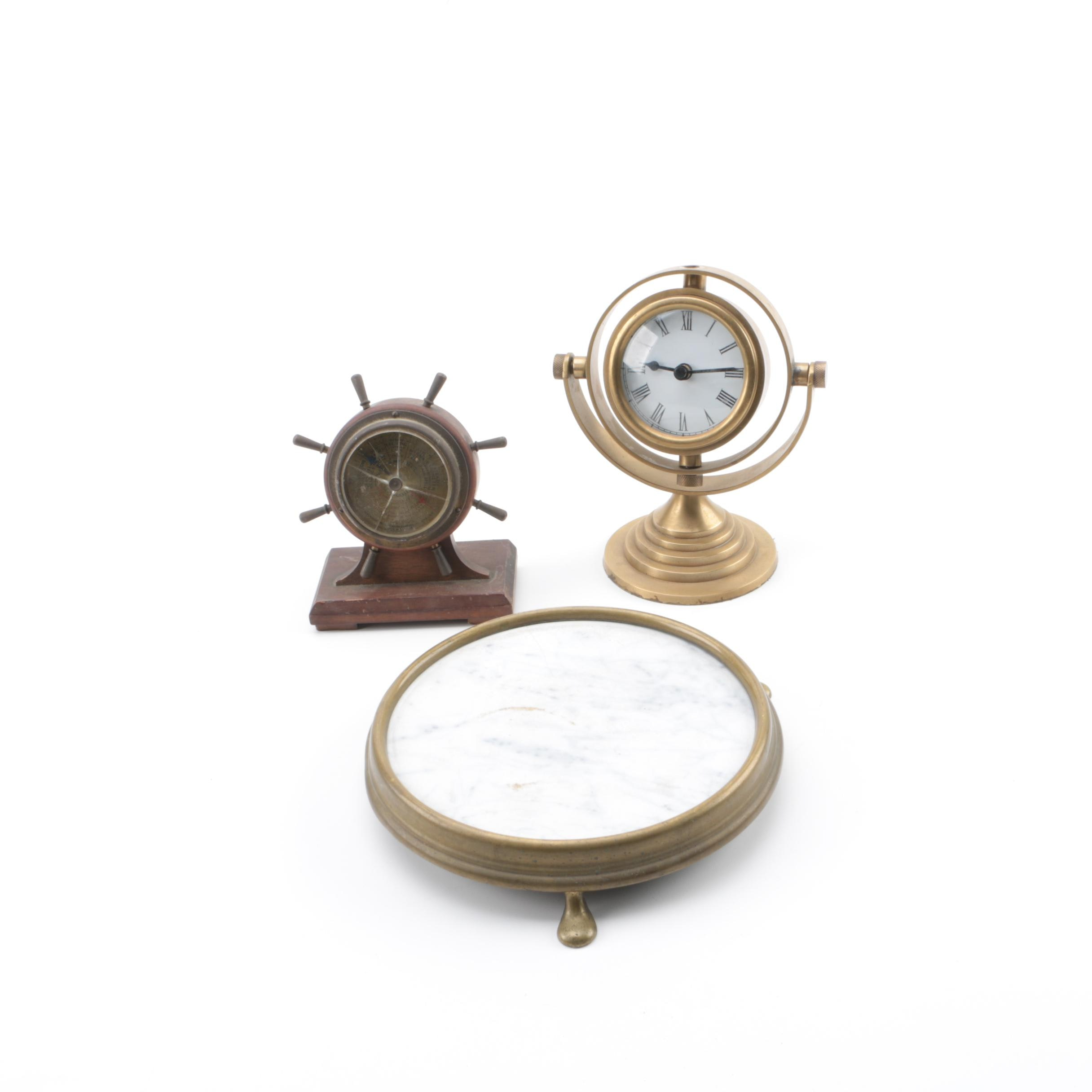 Spherical Clock and Nautical Barometer with Mirrored Stand