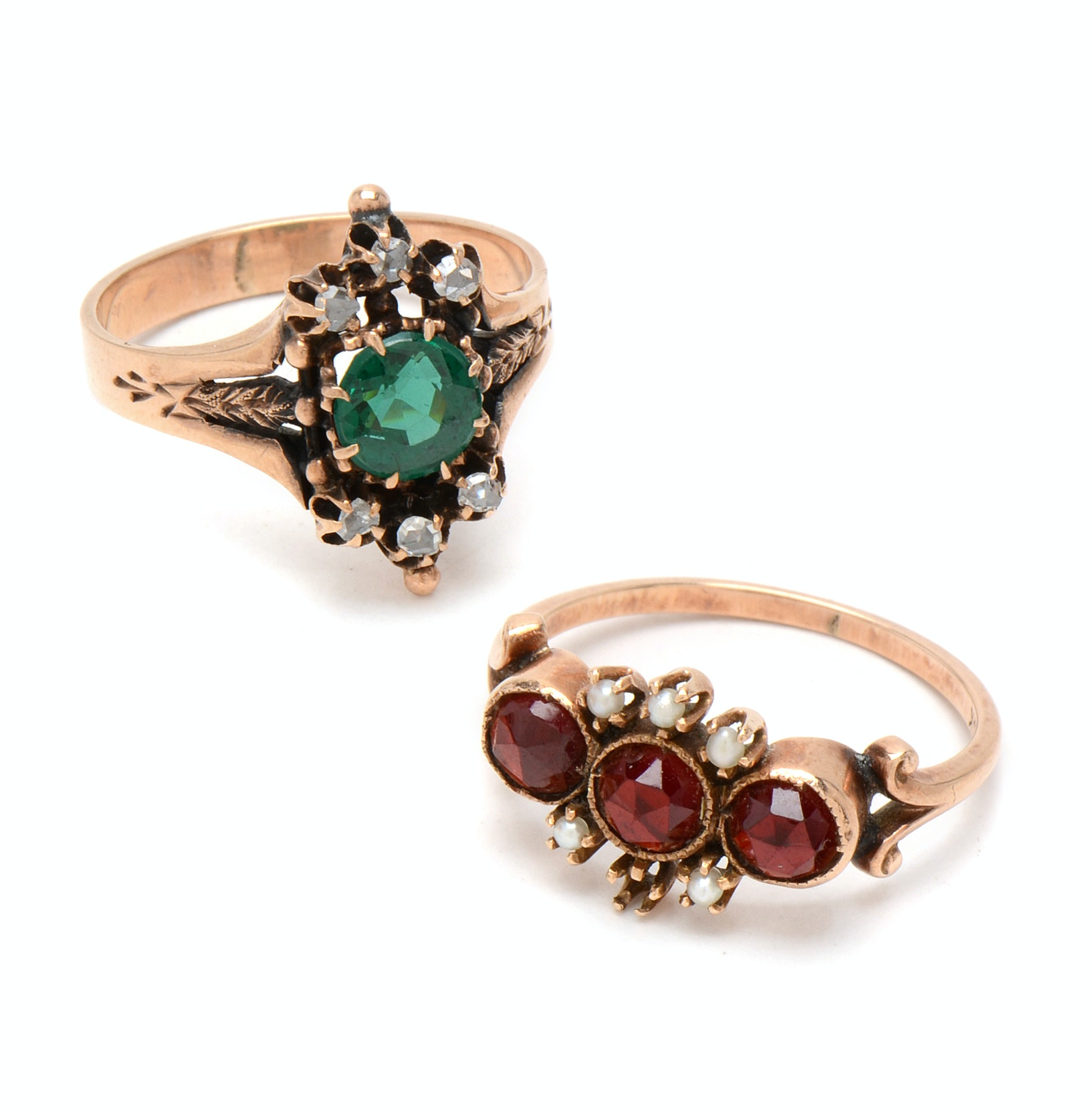 Pair of Victorian 10K Rose Gold Rings with Garnets, Diamonds and Pearls