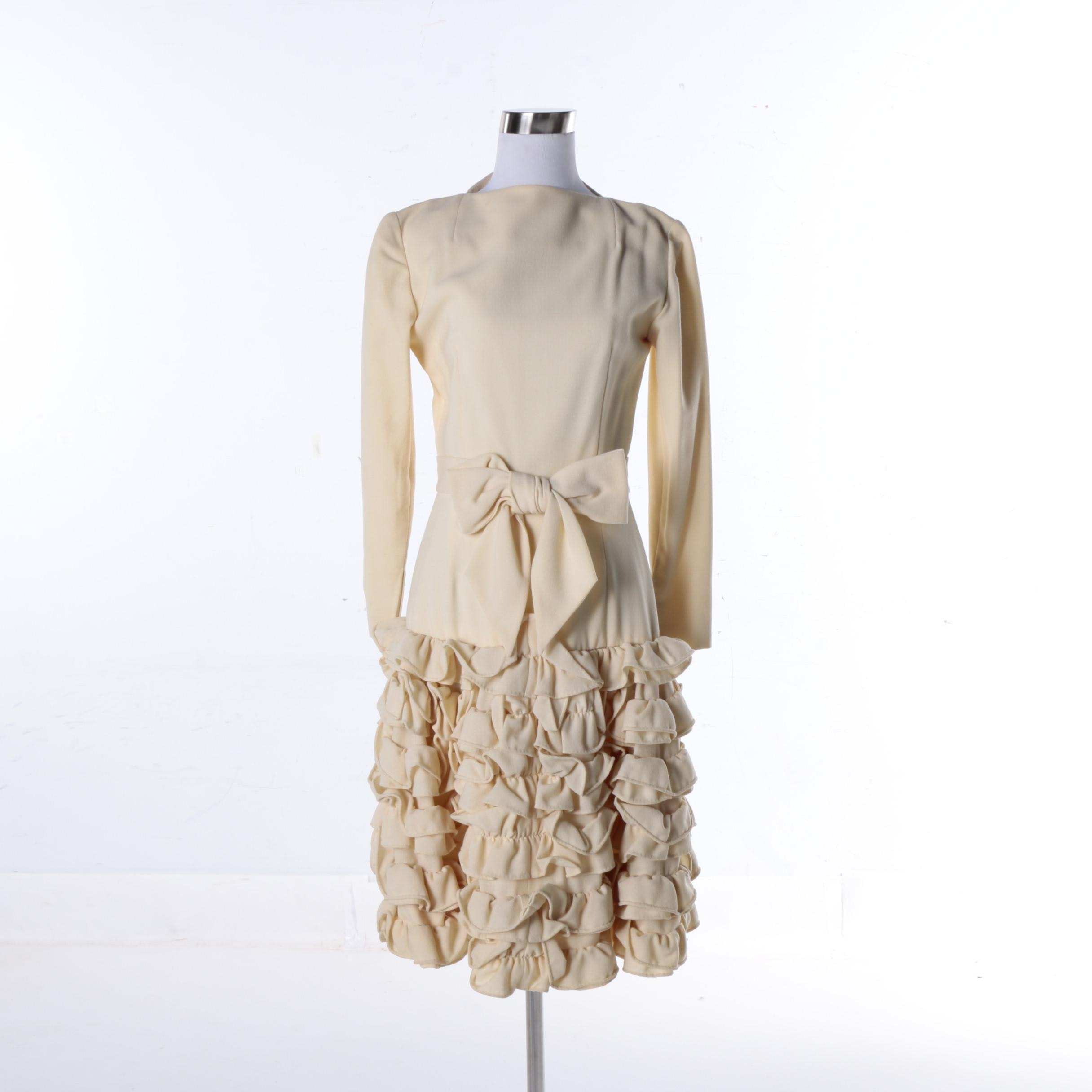 Vintage Cardinali Wool Crepe Ruffle Dress