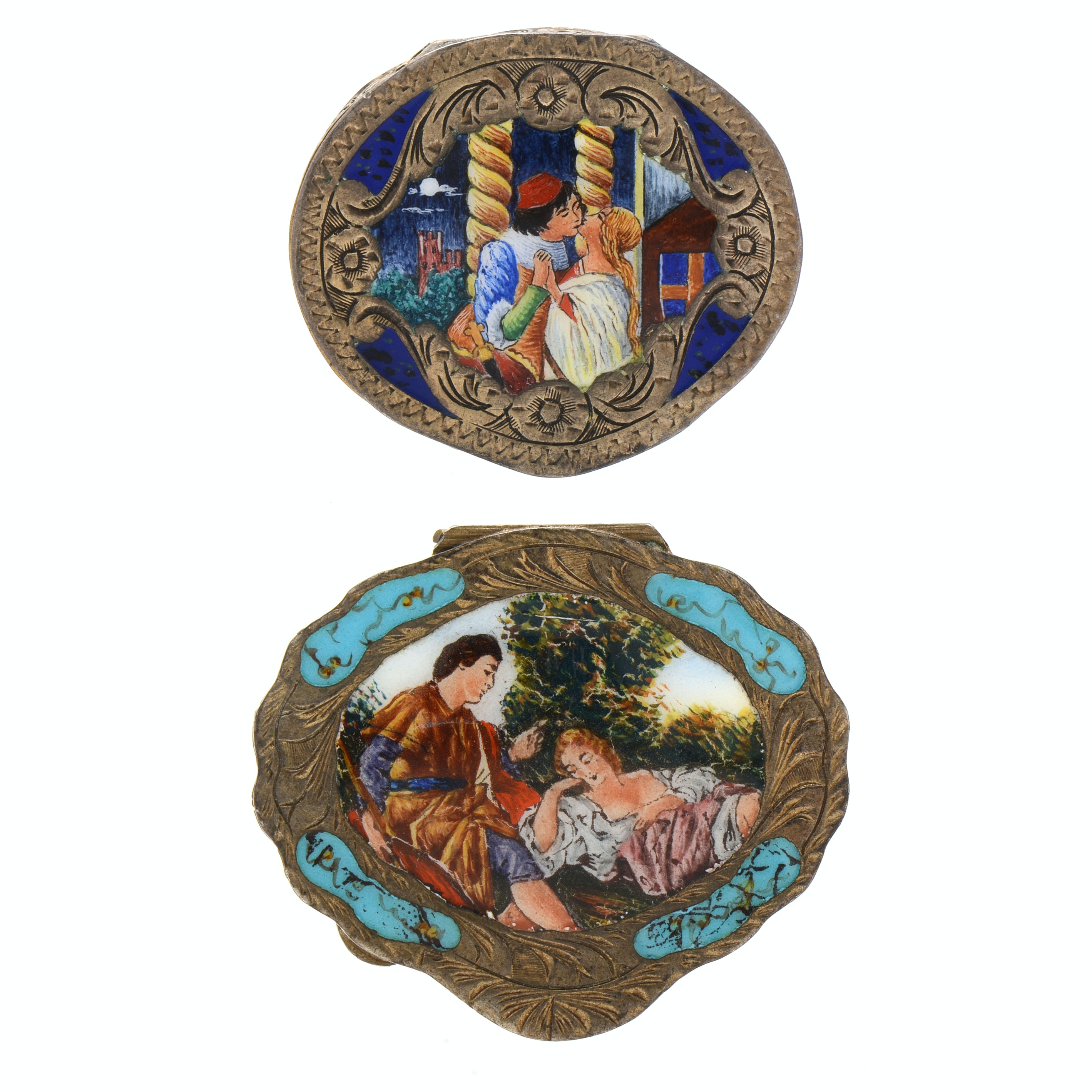 Pair of Vintage Italian 800 Silver Enameled Compacts