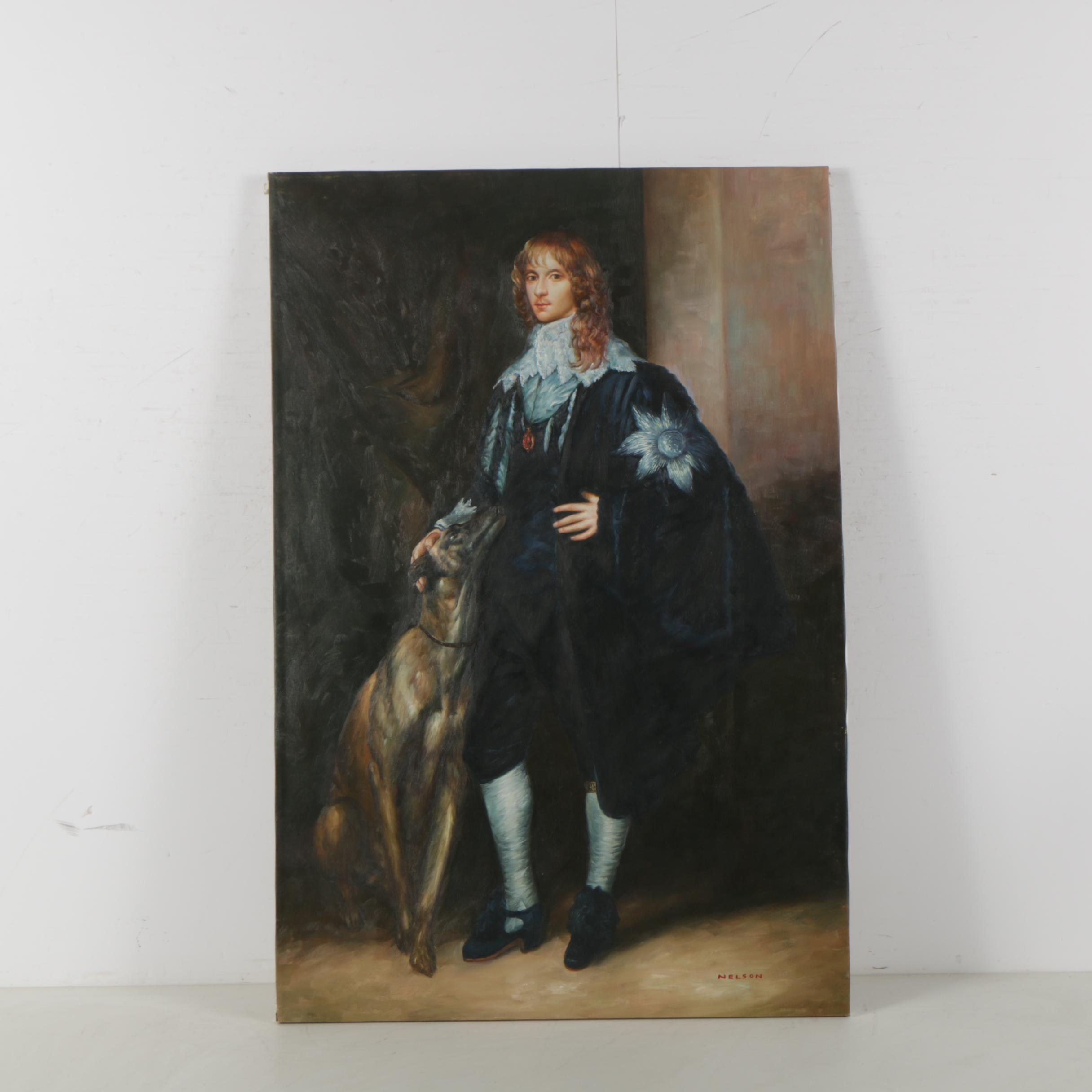 Nelson Oil Portrait Copy Painting after Anthony Van Dyck