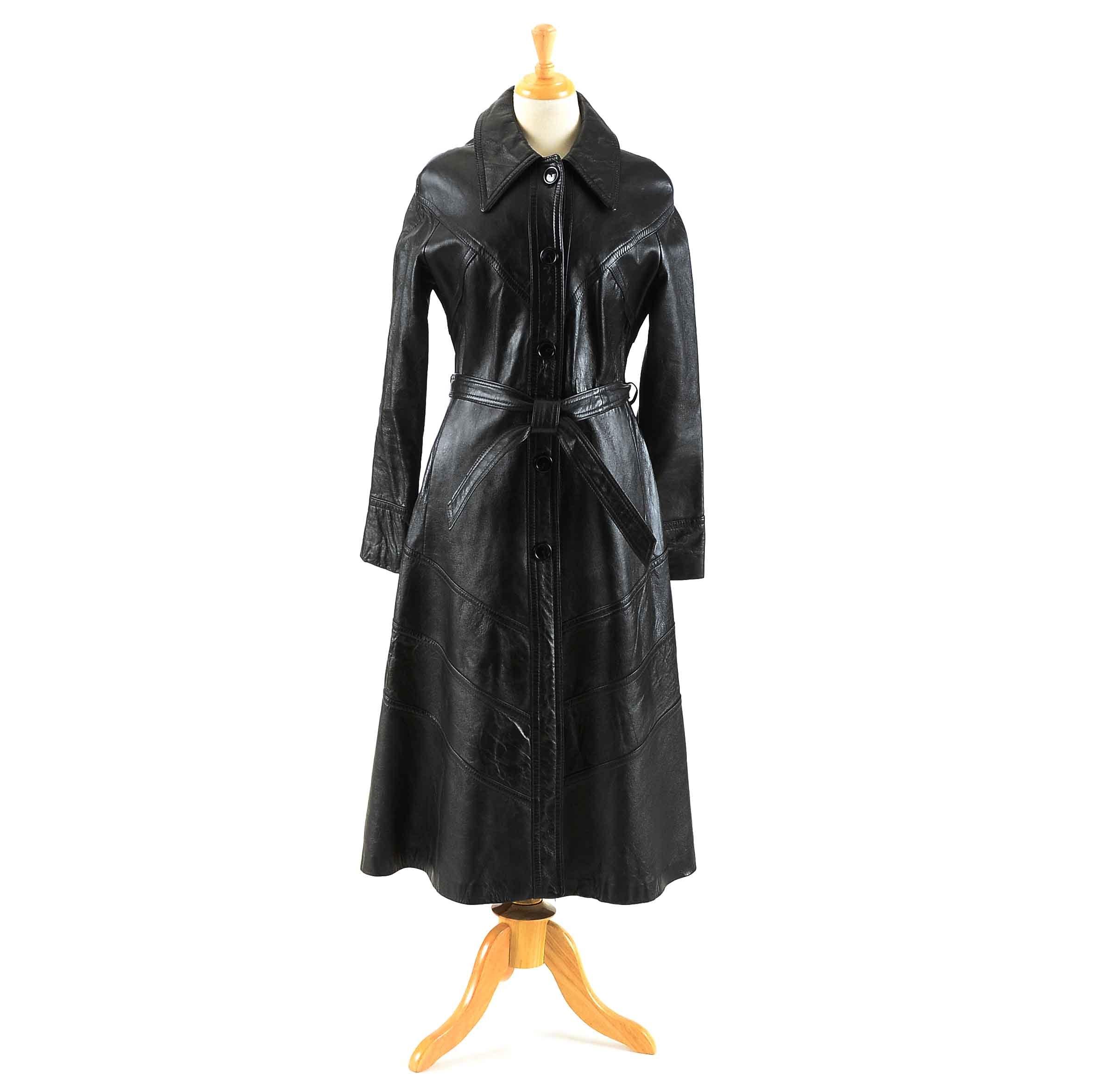 Vintage Black Leather Coat