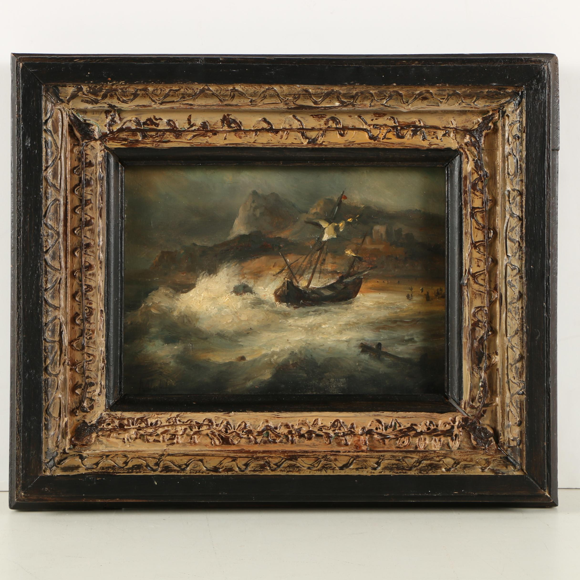 Oil Painting of a Ship in Turbulent Waters