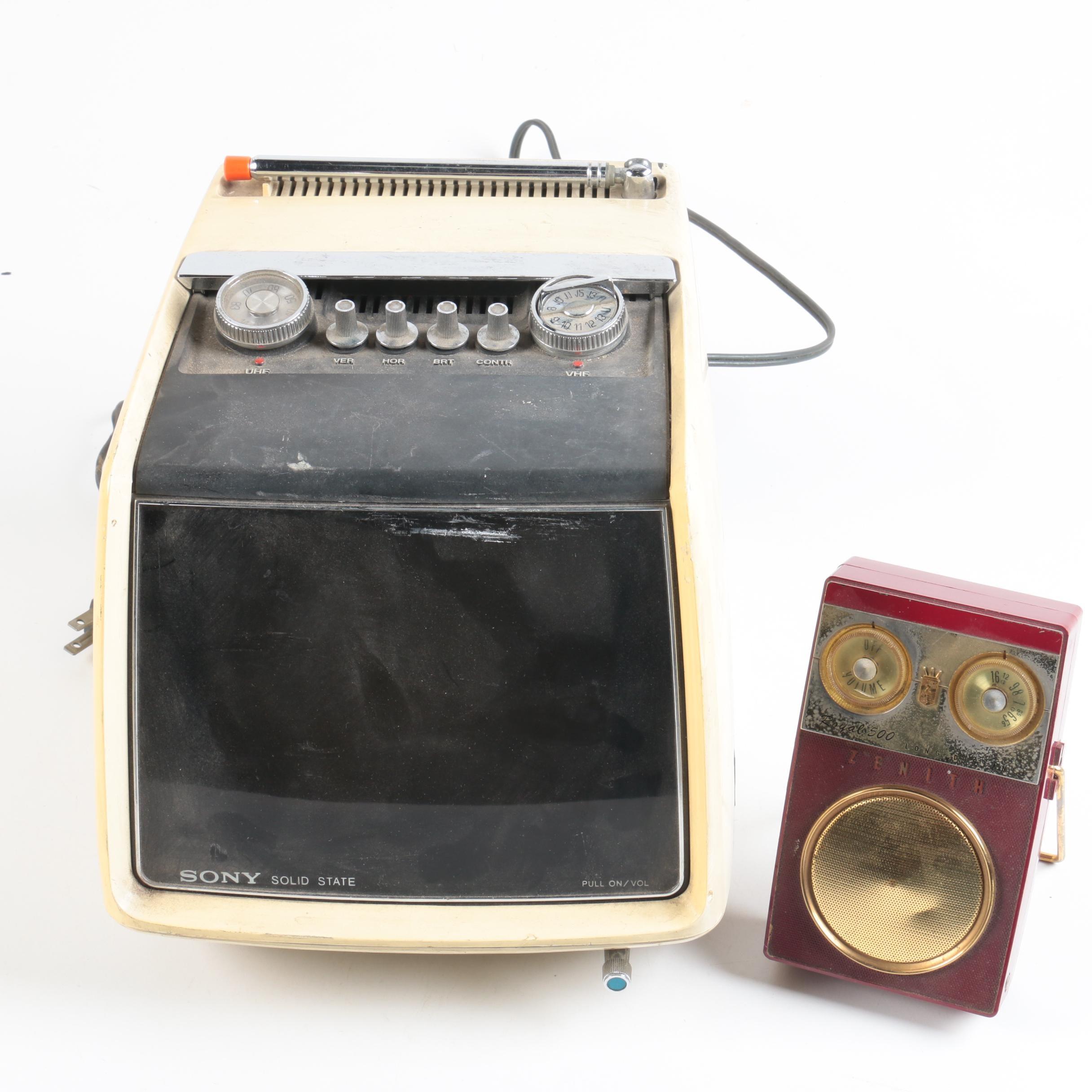 Vintage Sony Portable TV and Zenith Transistor Radio
