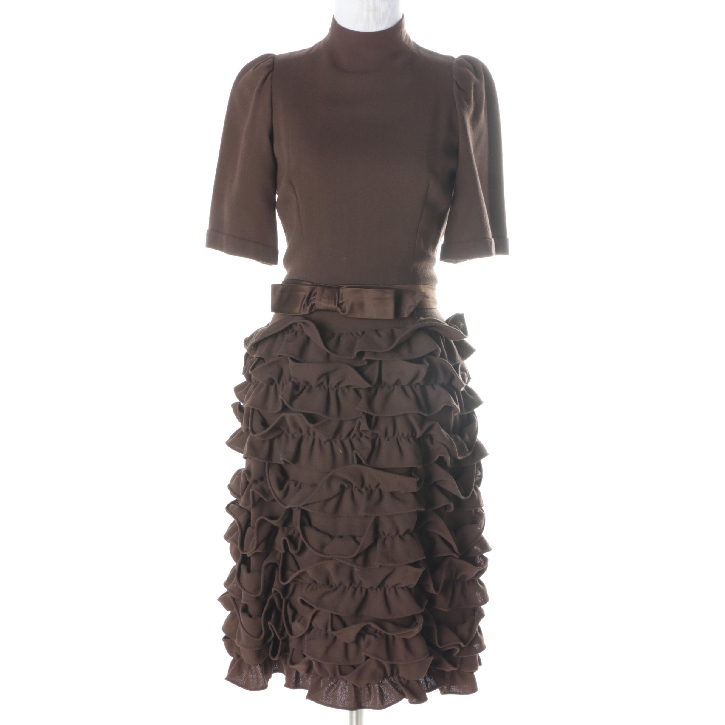 Vintage Cardinali Ruffled Wool Crepe Sample Dress
