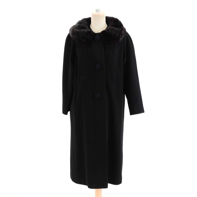 Women's Vintage Swing Coat with Mink Collar