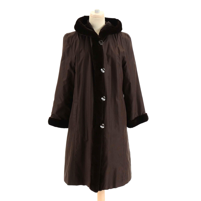 Vintage Brown Mink Trimmed Raincoat