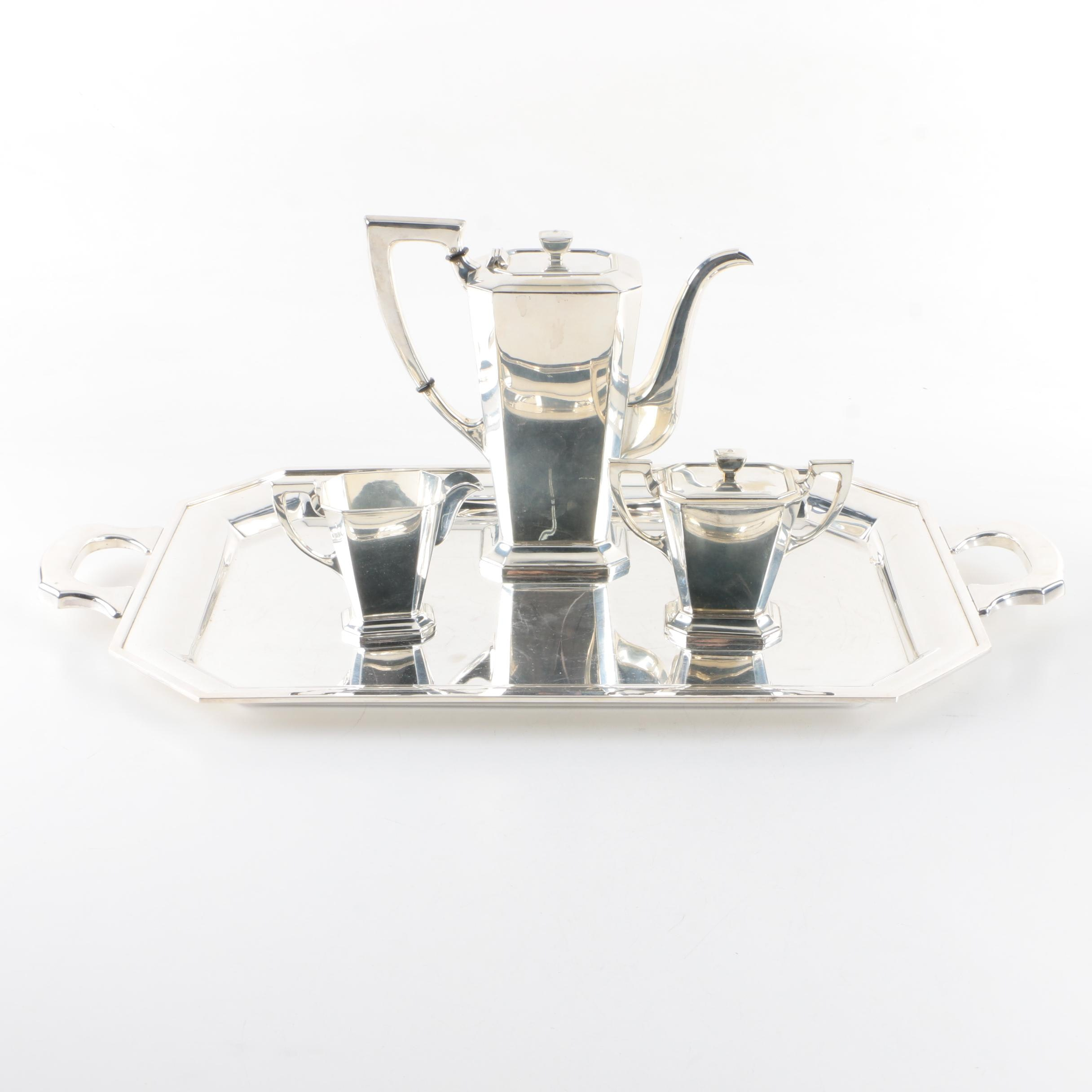 Silver-Plated Art Deco Style Coffee Service with Tray