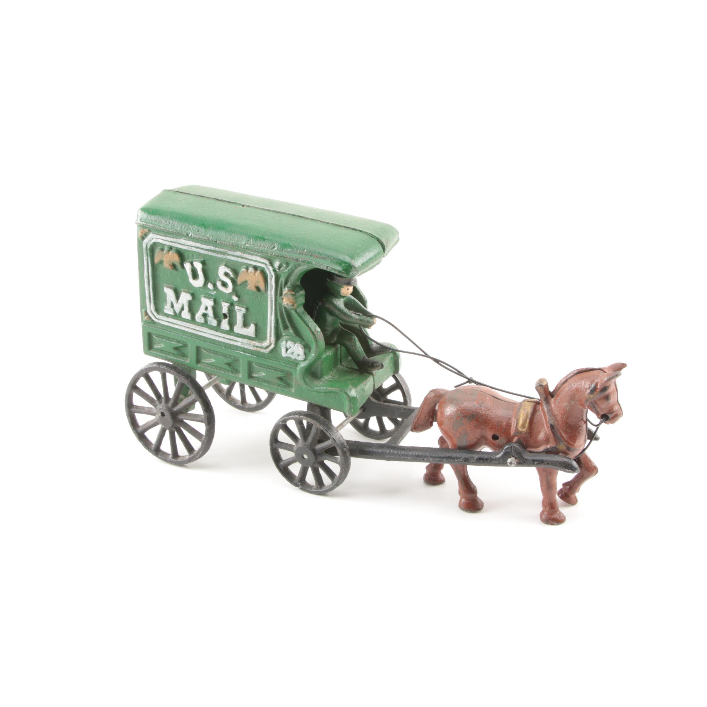 Cast Iron U.S Mail Horse Drawn Wagon