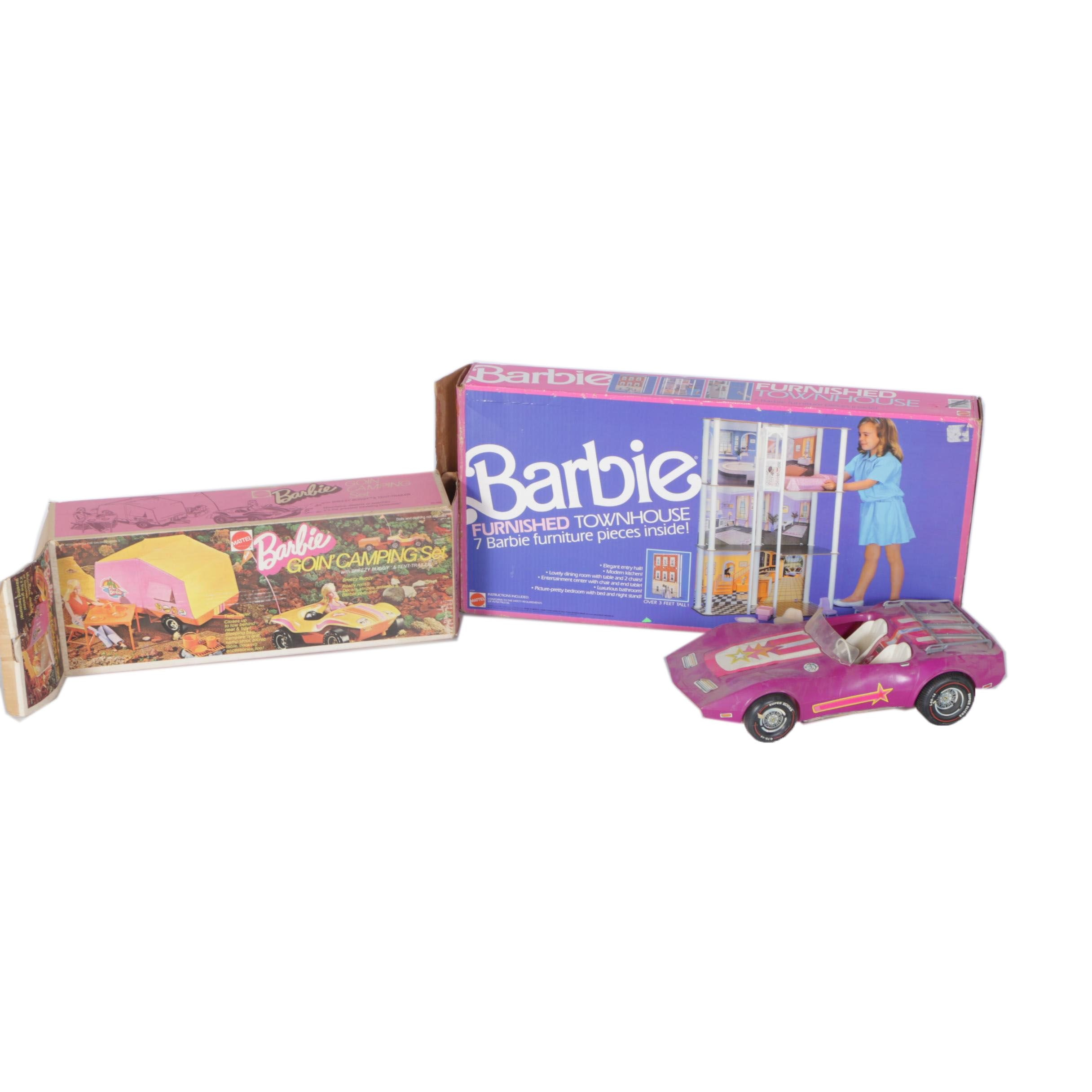 Barbie Accessories Including Doll House, Car, and Camping Set