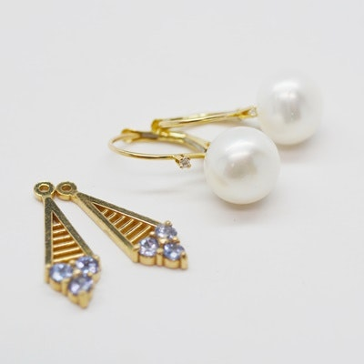 14K Yellow Gold Cultured Freshwater Pearl Earrings and Tanzanite  Jackets