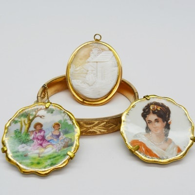 Jewelry Collection Featuring Carved Helmet Shell Cameo and Limoges Brooches