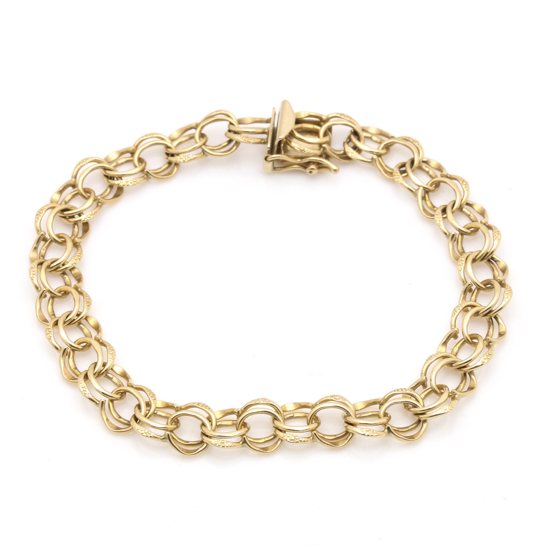 14K Yellow Gold Fancy Dual Rolo Chain Bracelet