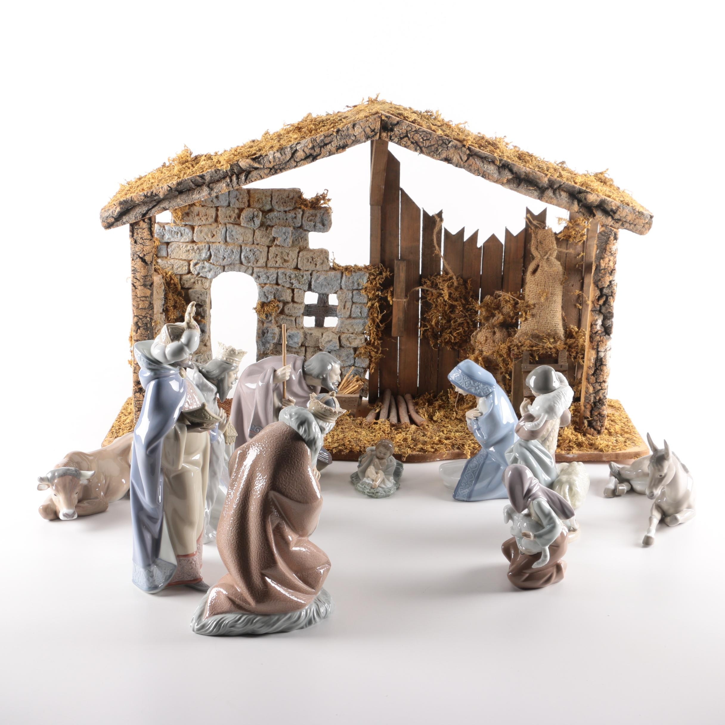 Lladró Porcelain Nativity Scene Figurine Set