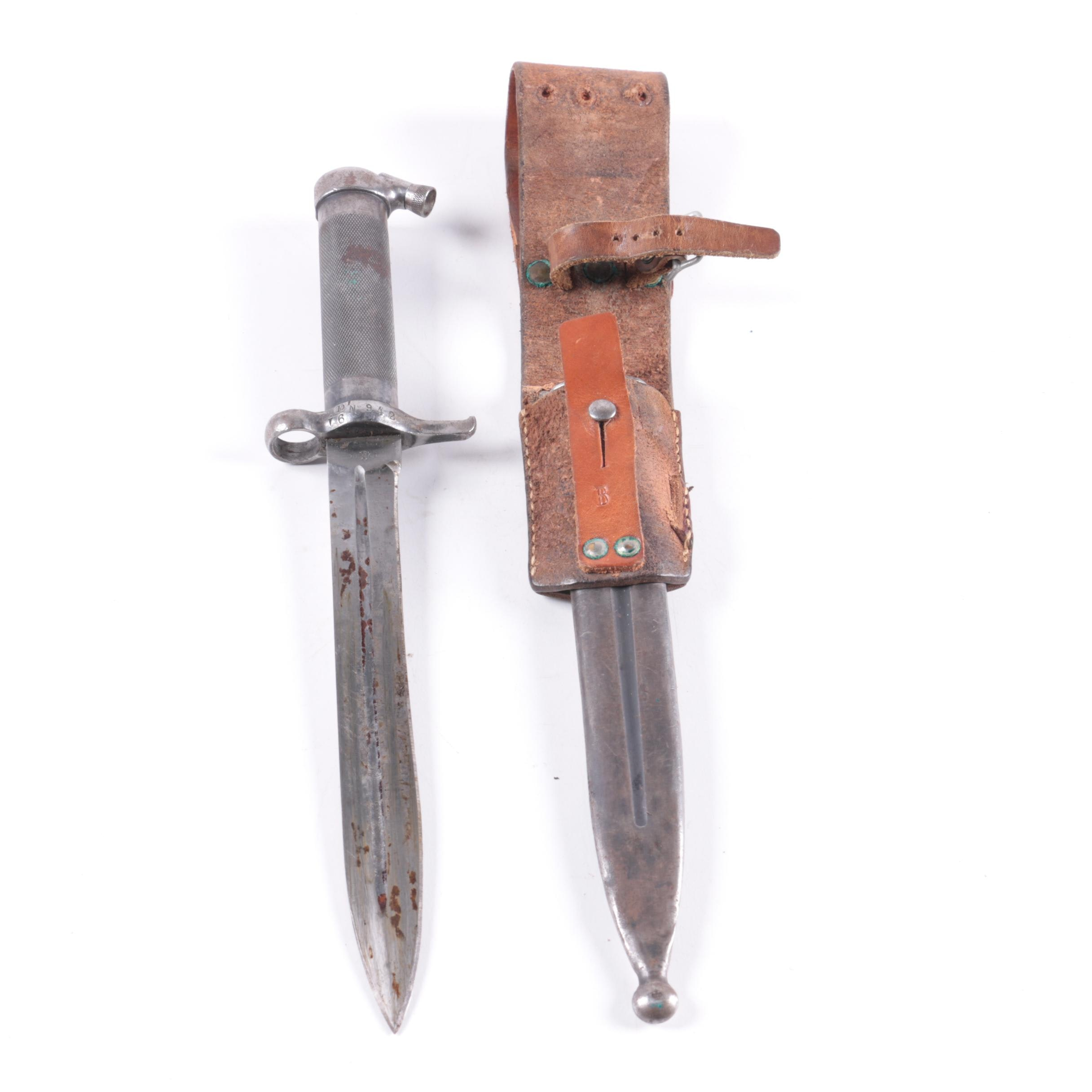 Antique Swedish M96 Bayonet in Scabbard with Leather Frog
