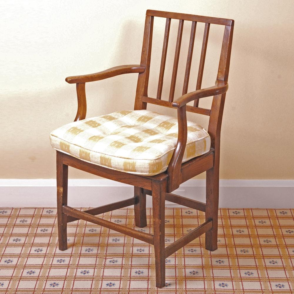 Antique English Elm Hepplewhite Arm Chair