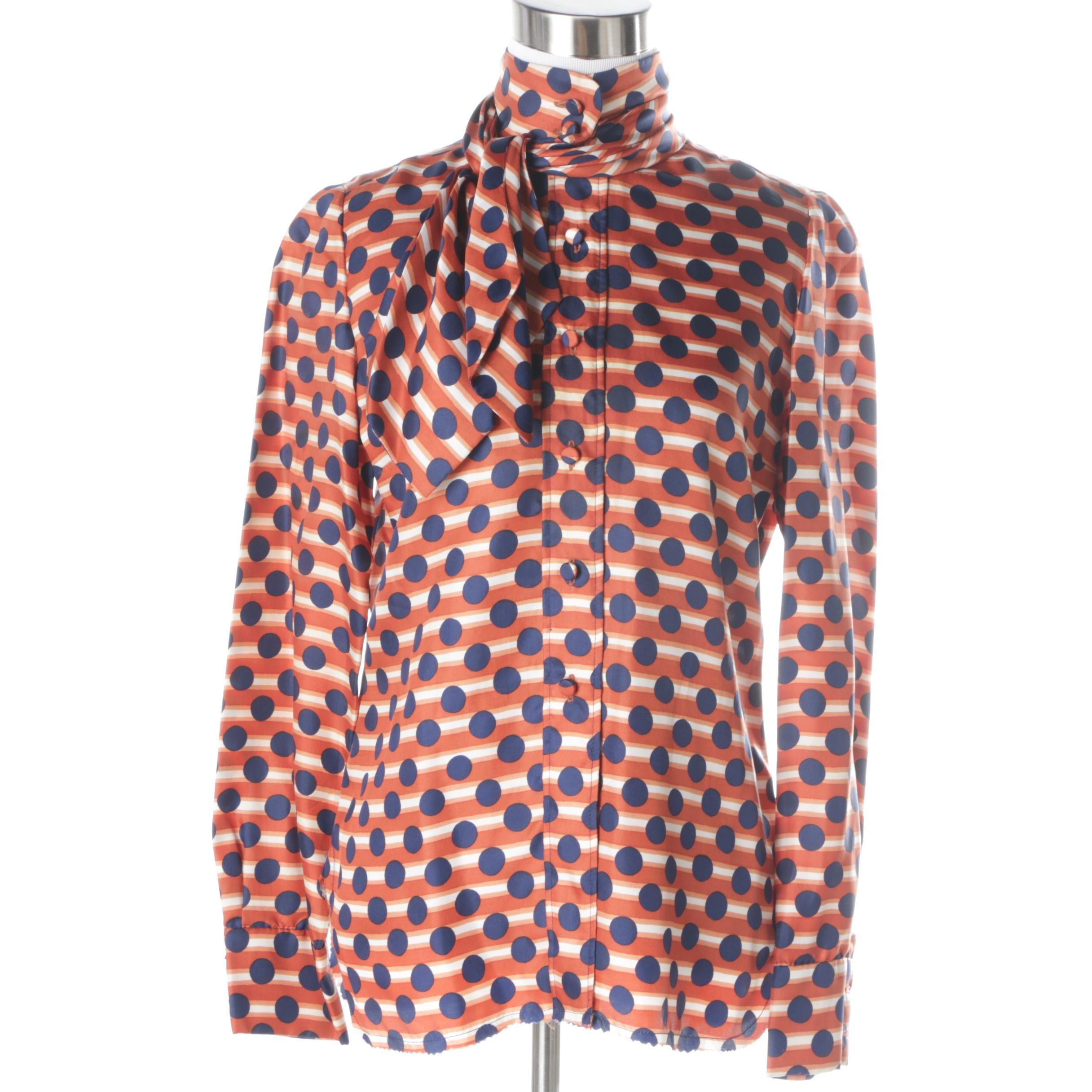 Vintage Cardinali Orange and Blue Polka-Dot Shirt