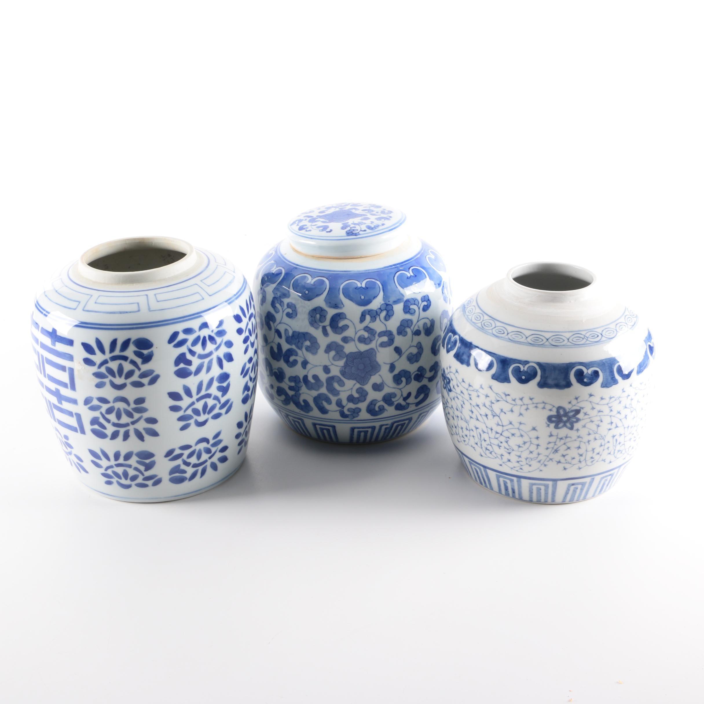 Chinese Blue and White Ceramic Jars