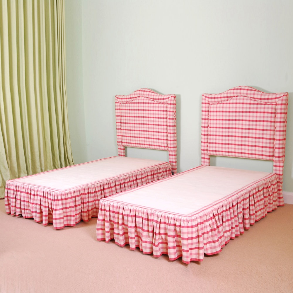 Two Twin Beds in Custom Upholstery