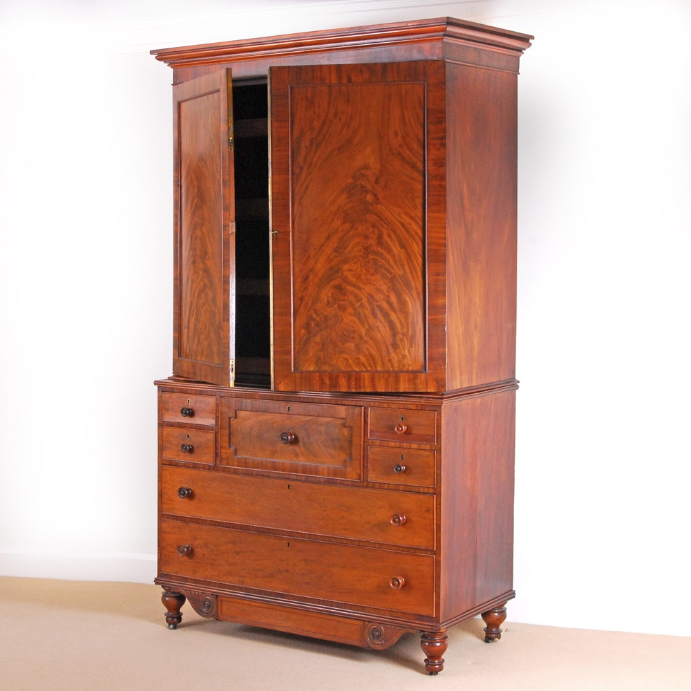 Antique Scottish Mahogany Linen Press