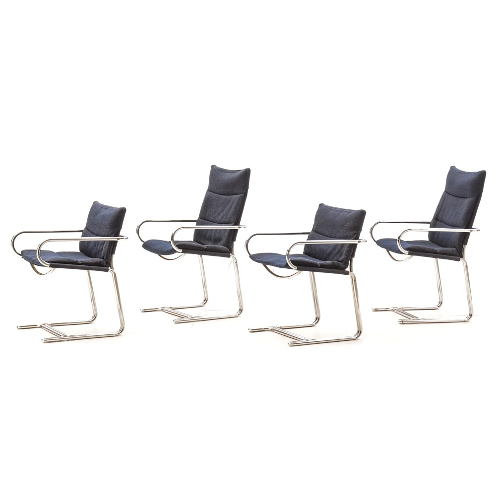 Mid Century Modern Chrome Cantilevered Chairs