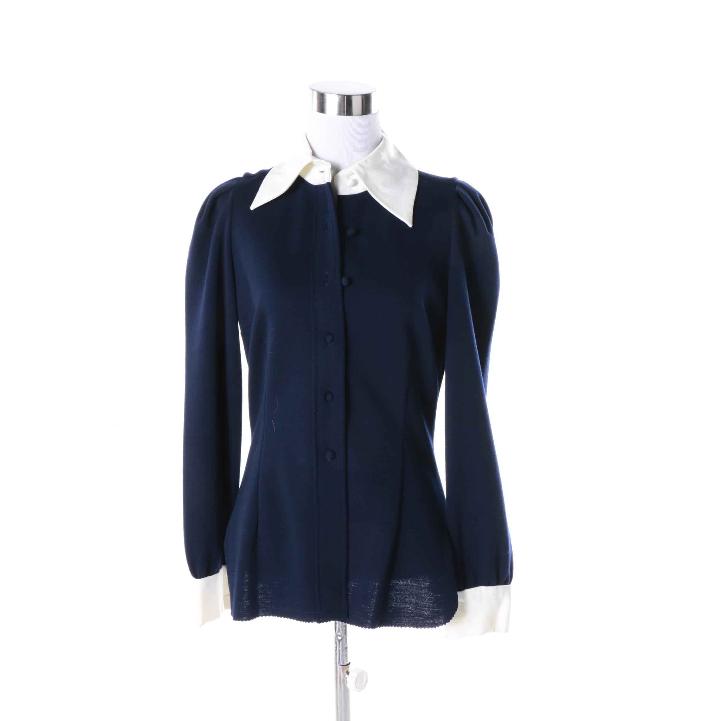 Women's Vintage Cardinali Blouse with Silk Collar