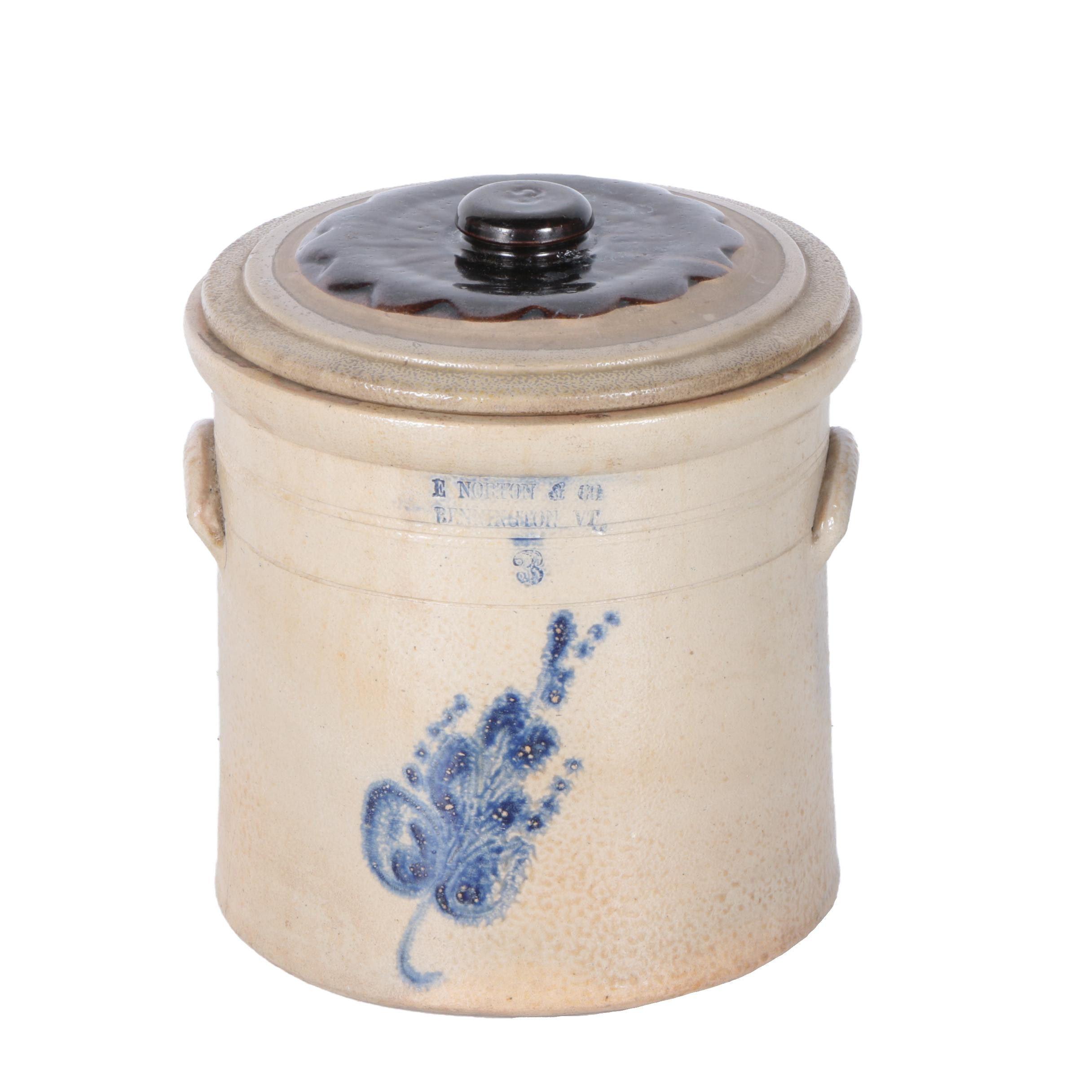 Antique E. Norton & Co. Bennington Vermont Lidded Stoneware Crock