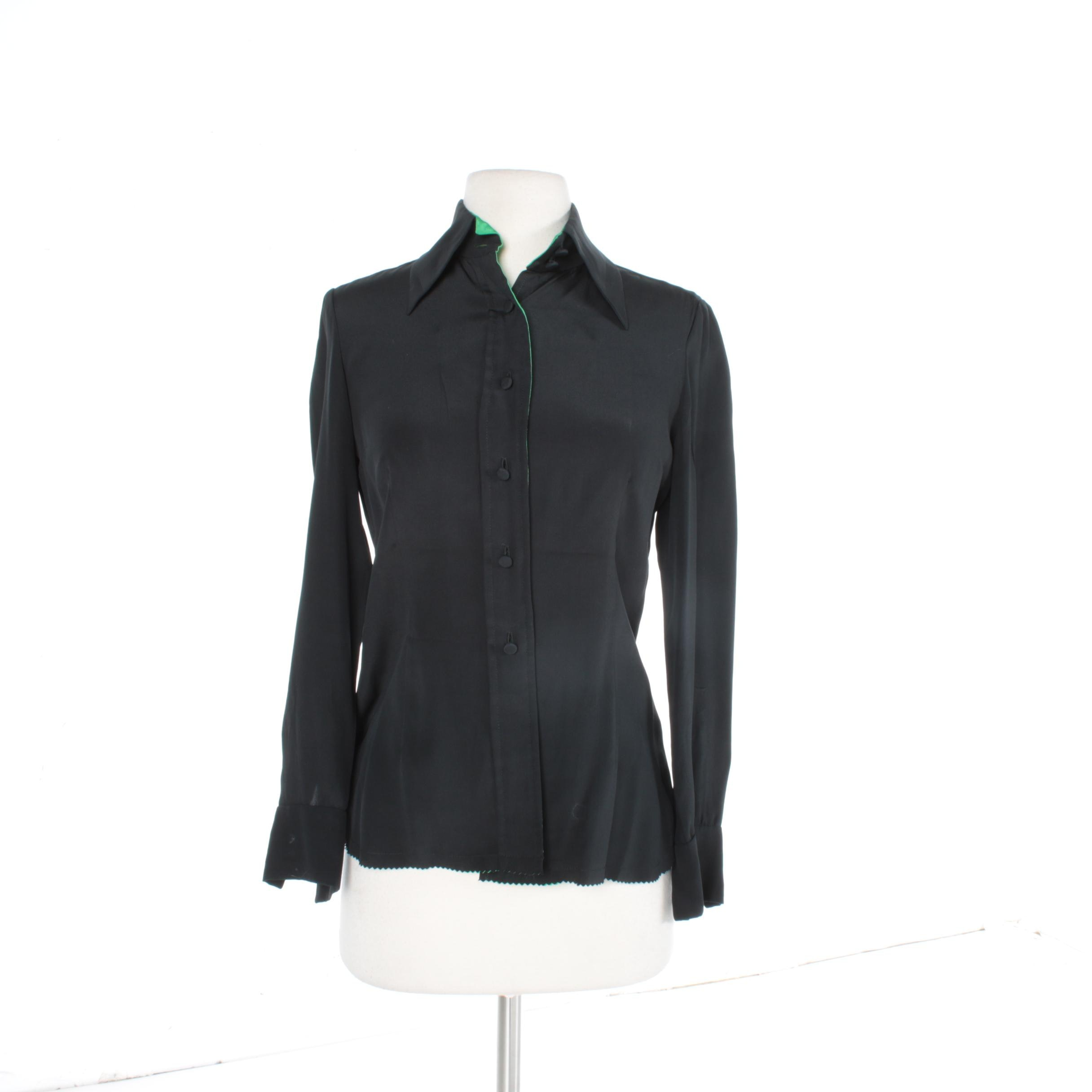Vintage Cardinali Black Silk Blouse