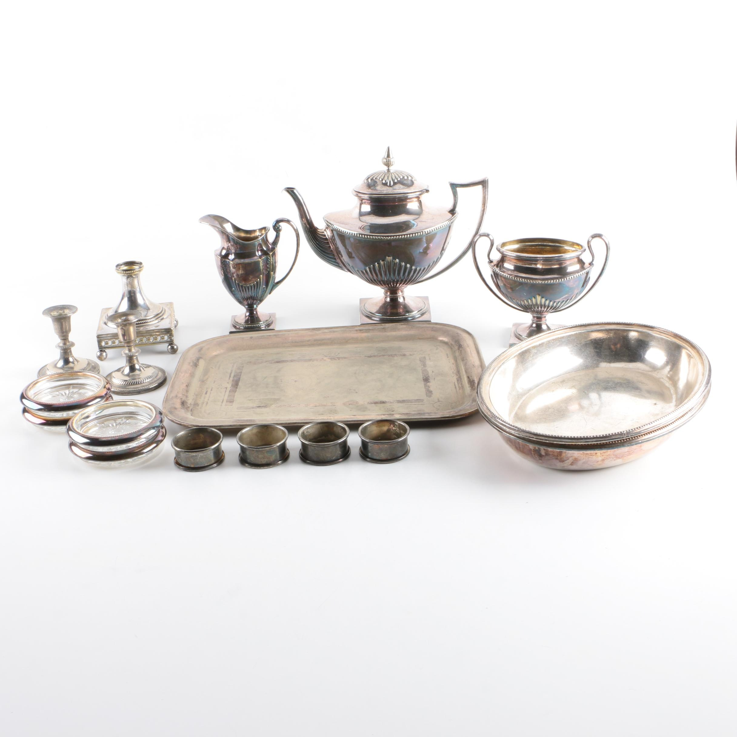 Silver Plate Tea Service and Other Tableware