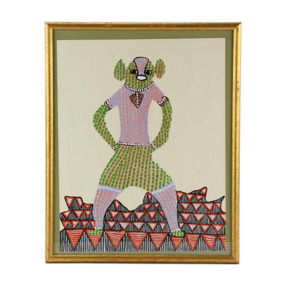 Mixed Media Artwork of Anthropomorphic Figure