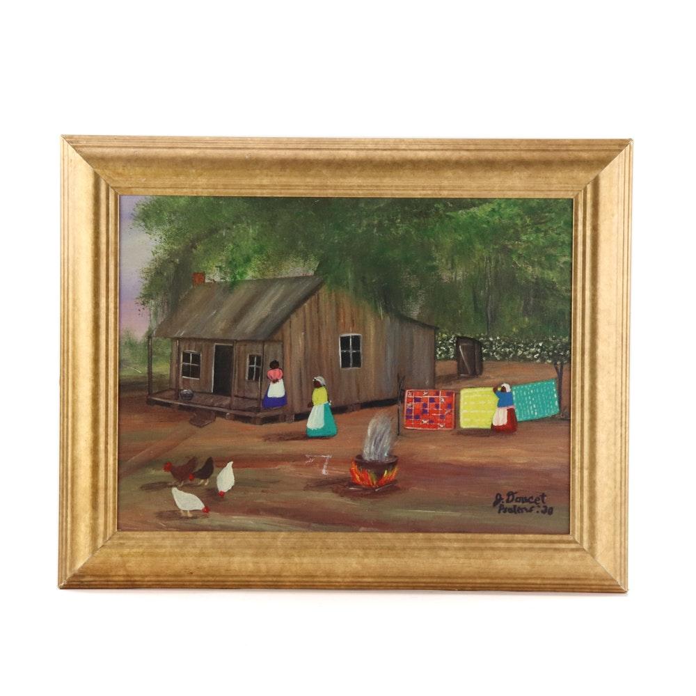 Judy Doucet Oil Folk Art Painting on Canvas