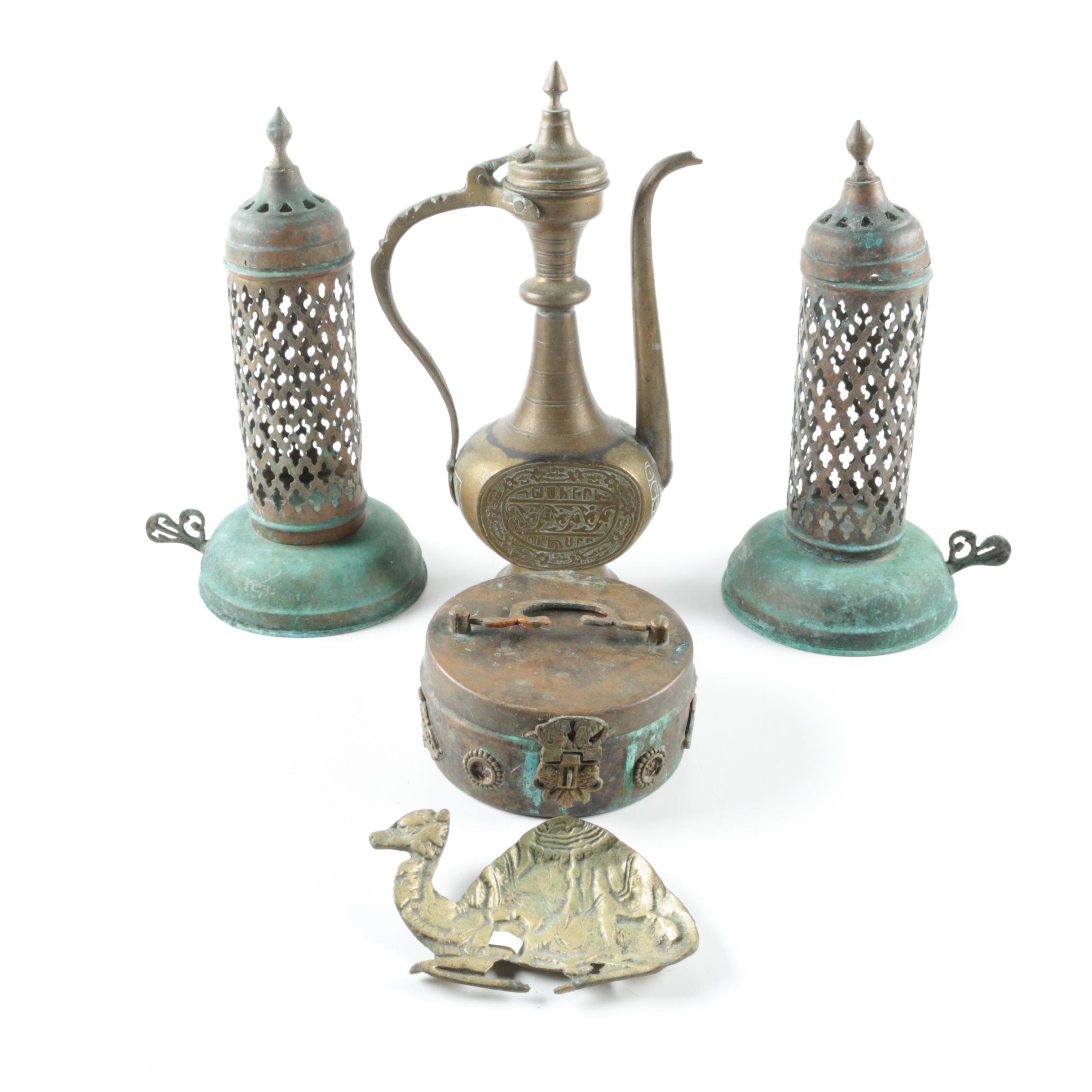 Vintage Middle Eastern Brass Lanterns, Teapot, Trinket Box, and Ash Receiver