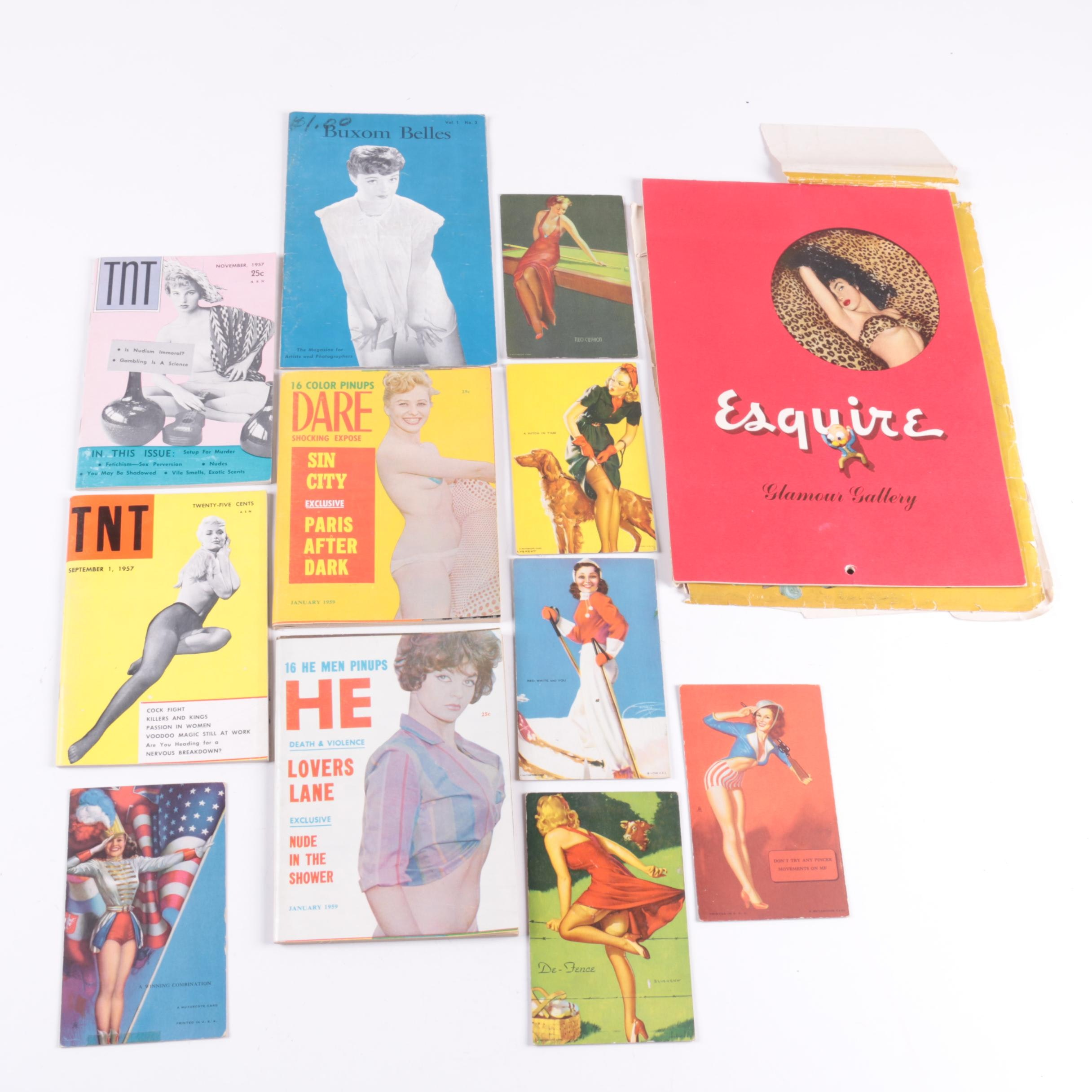 """Pin Up Magazines, Cards and 1948 """"Esquire Glamour Gallery"""""""