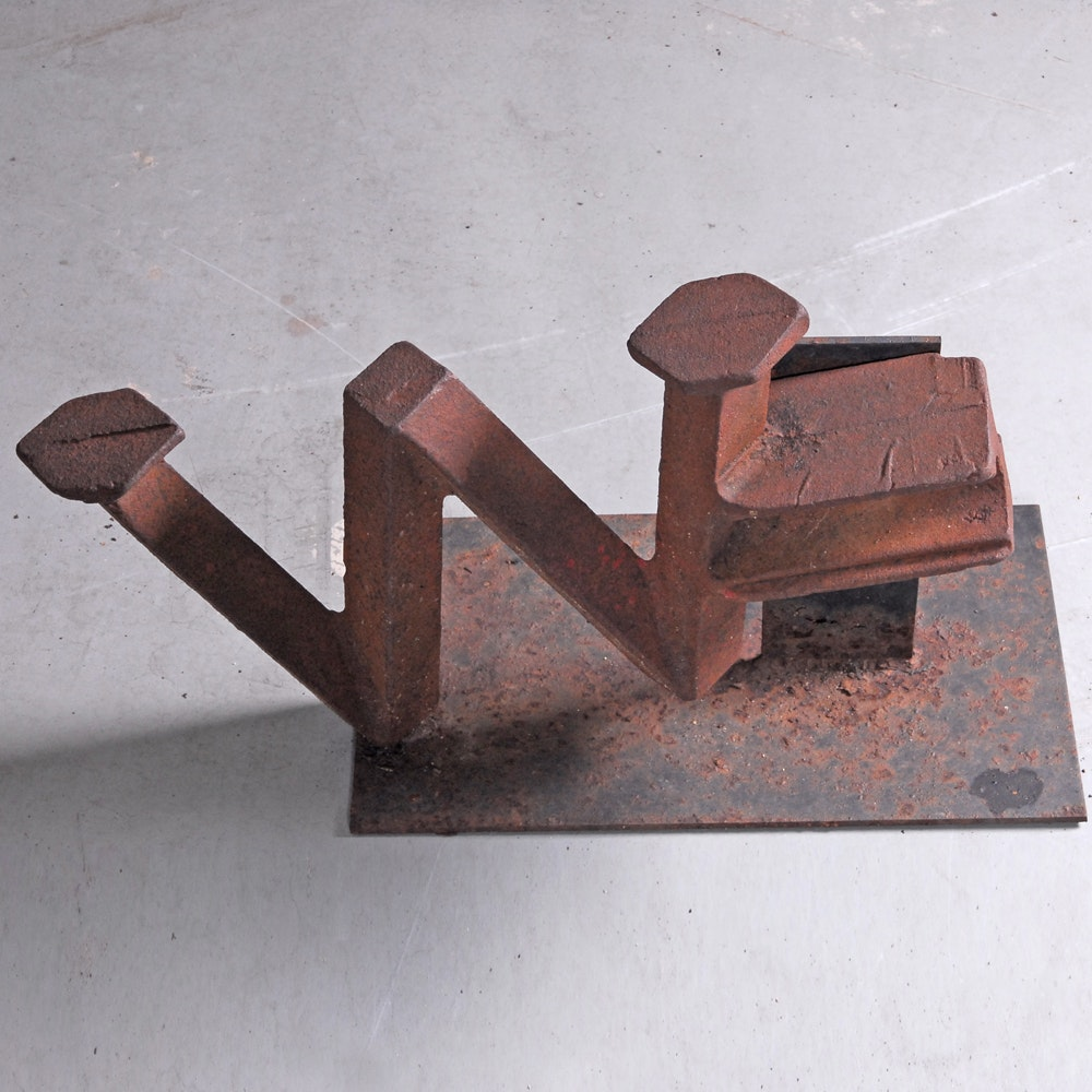 """Abstract Metal """"W"""" Sculpture"""