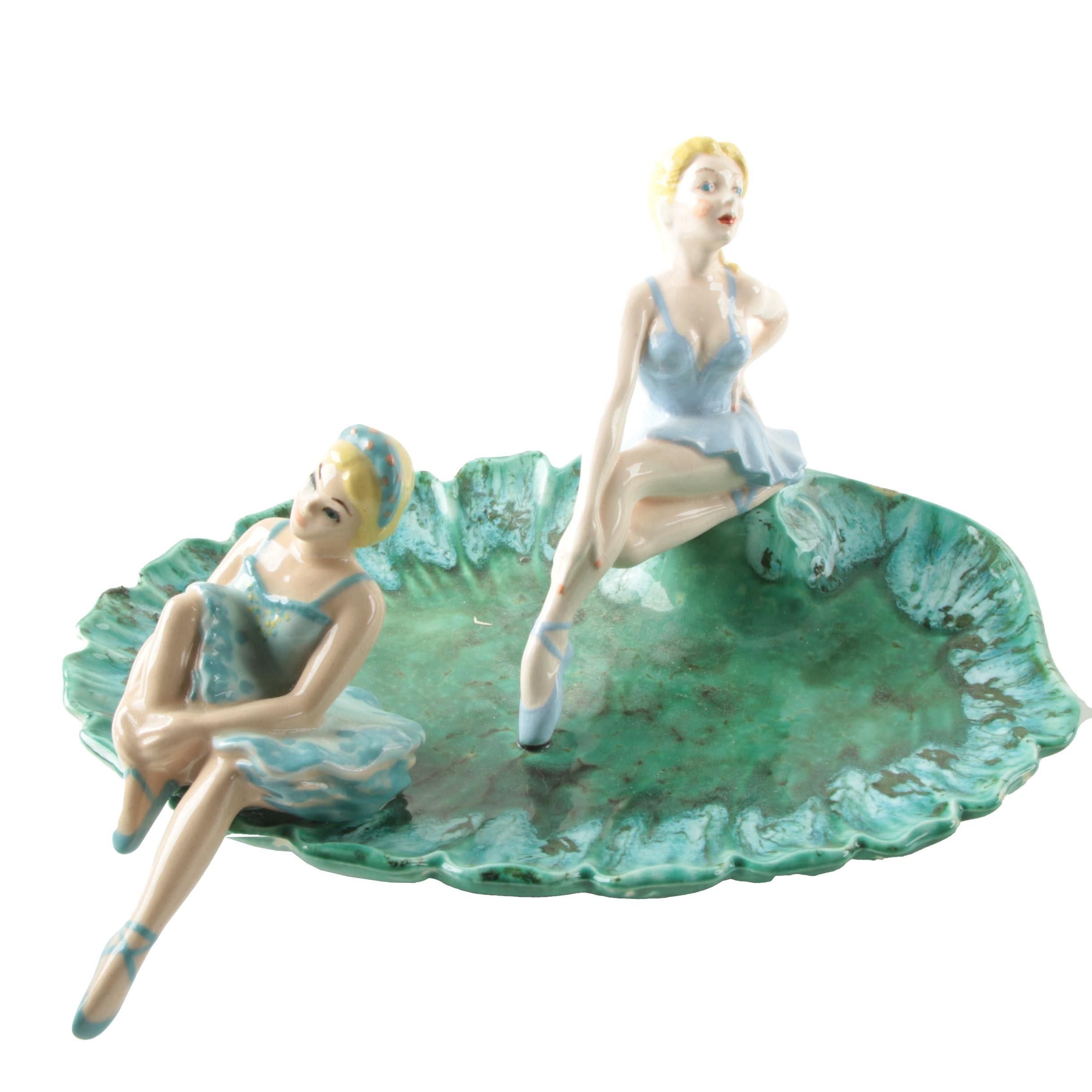 "Pair of Ceramic Art Studios ""En Repos"" Ballerinas and Holland Mold Ash Receiver"