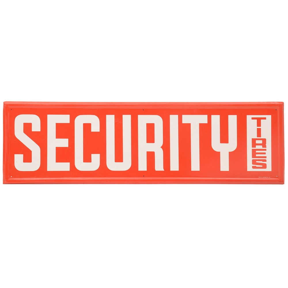 Large  1970 Security Tires Advertising Metal Sign