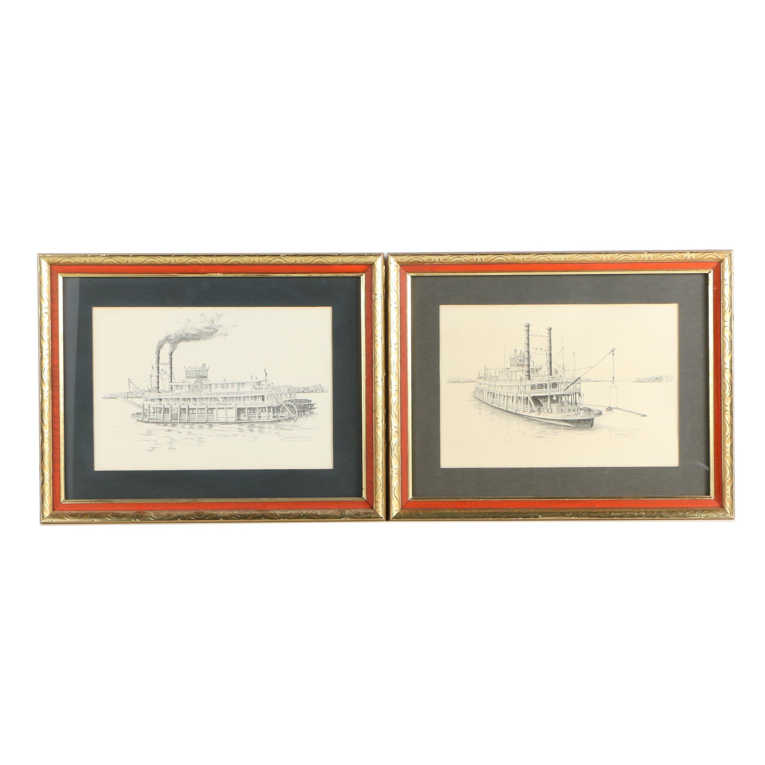 J. Franklin Brown Halftone Prints of Riverboats