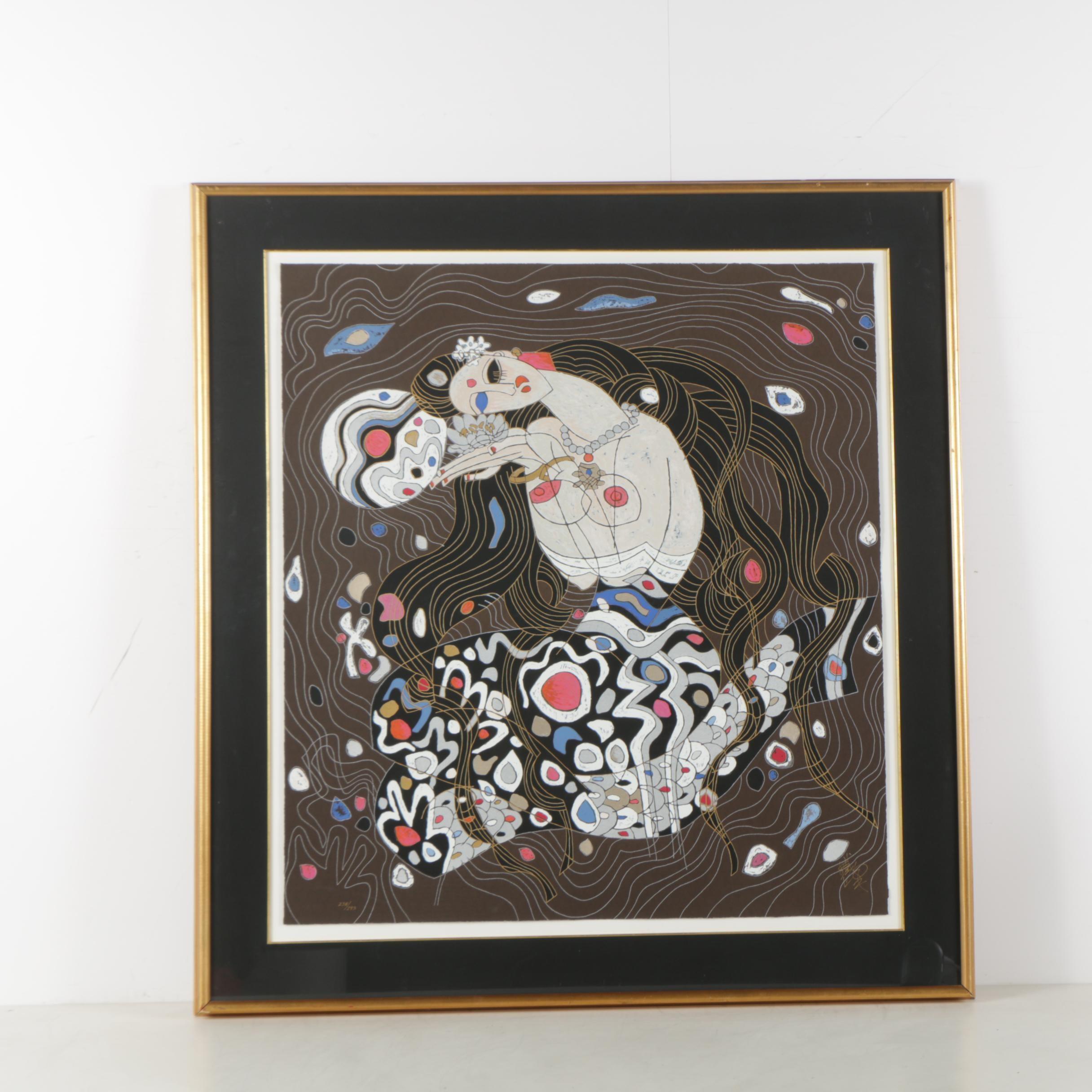 "Jiang Tie-Feng Hand Embellished Serigraph ""Mermaid"""