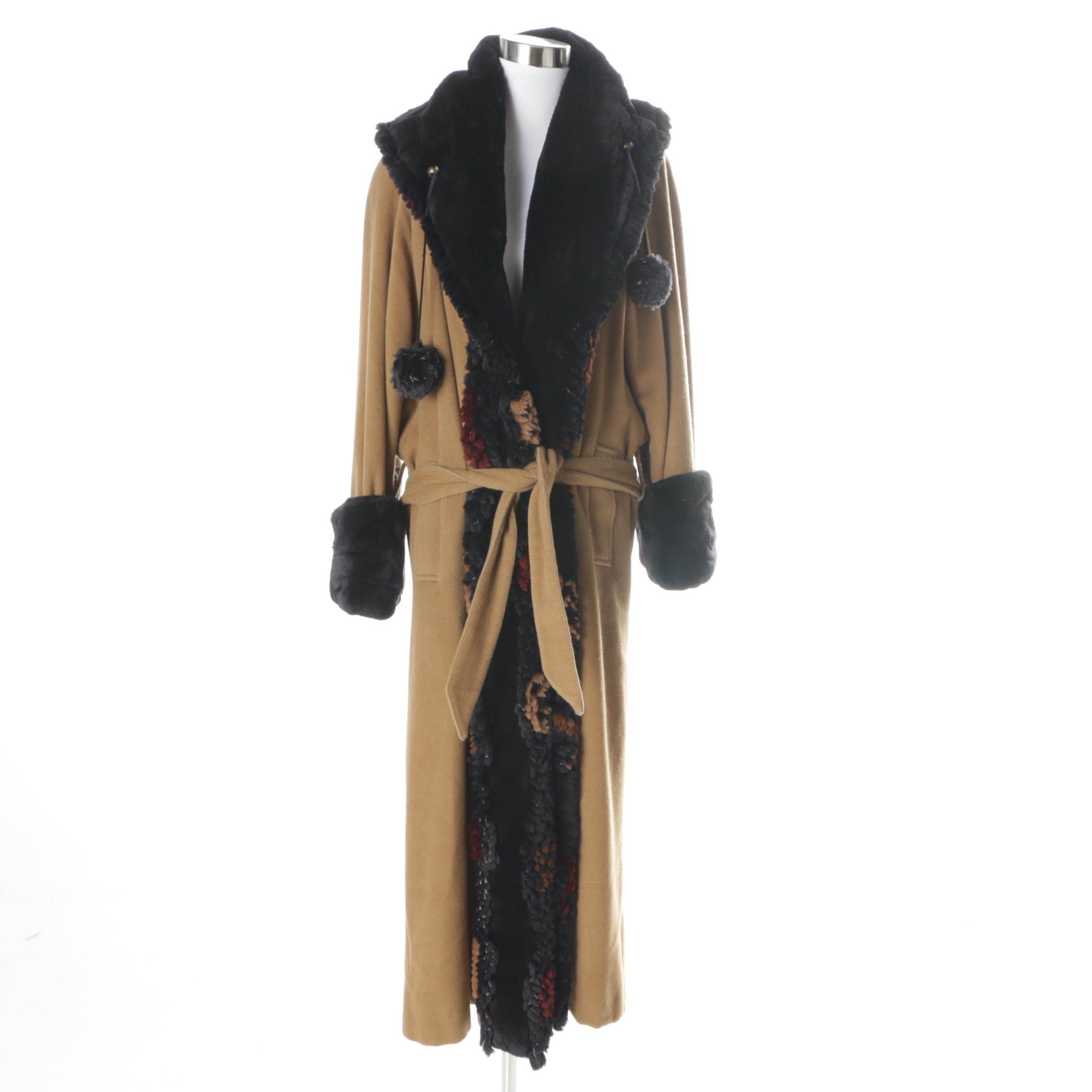 Vintage Camelhair Coat with Sheared Beaver Fur Trim